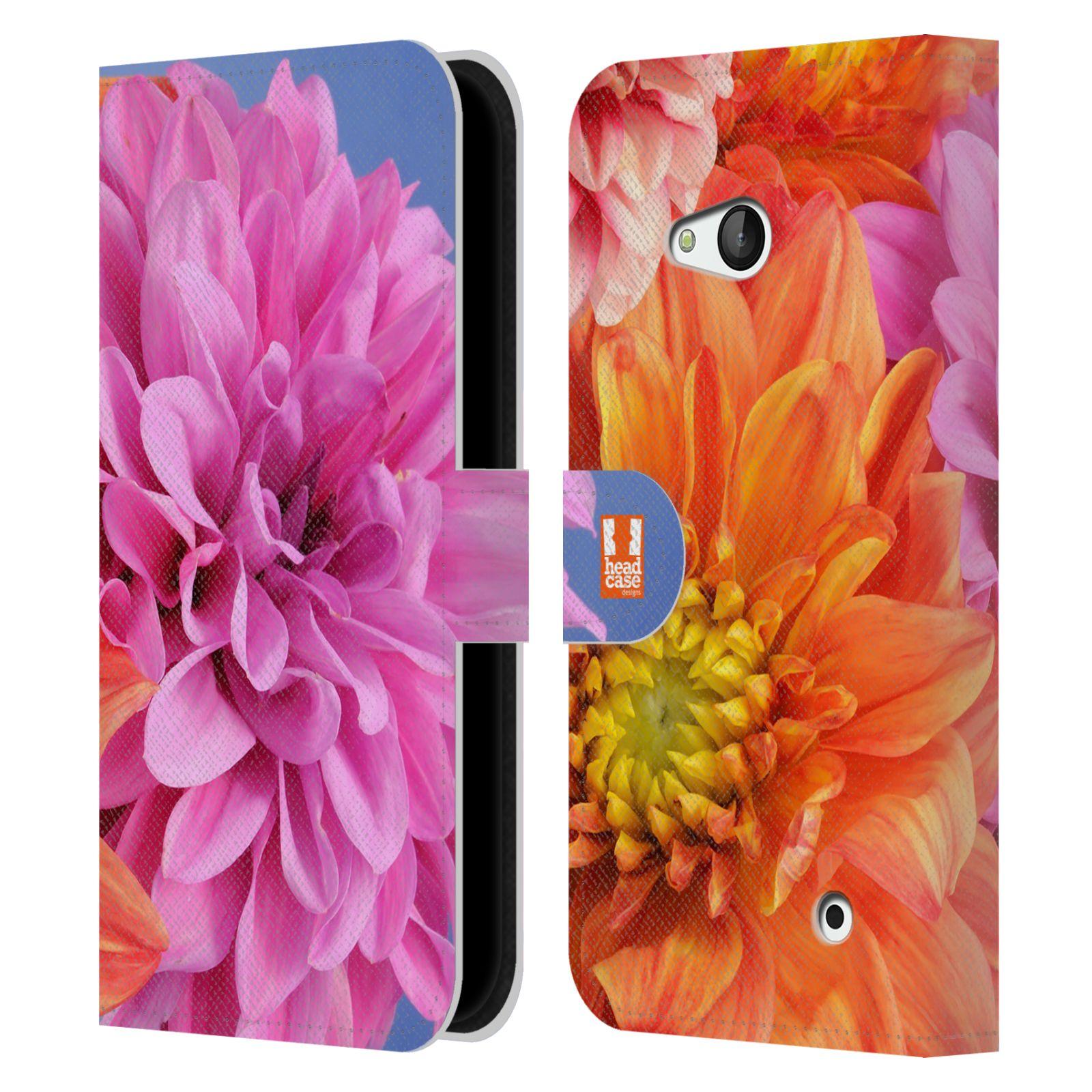 HEAD CASE Flipové pouzdro pro mobil NOKIA / MICROSOFT LUMIA 640 / LUMIA 640 DUAL květy foto Jiřinka růžová a oranžová