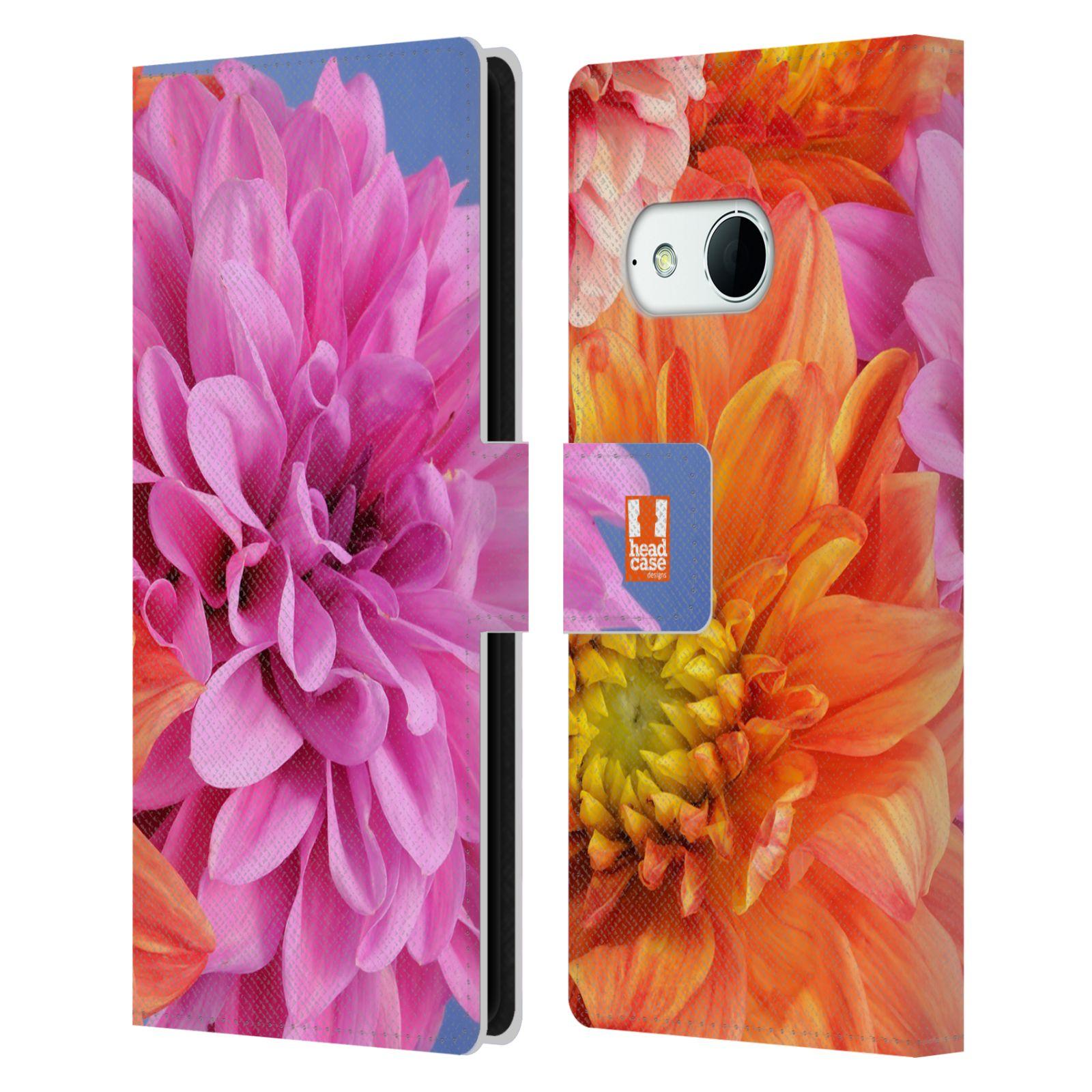 HEAD CASE Flipové pouzdro pro mobil HTC ONE MINI 2 (M8) květy foto Jiřinka růžová a oranžová