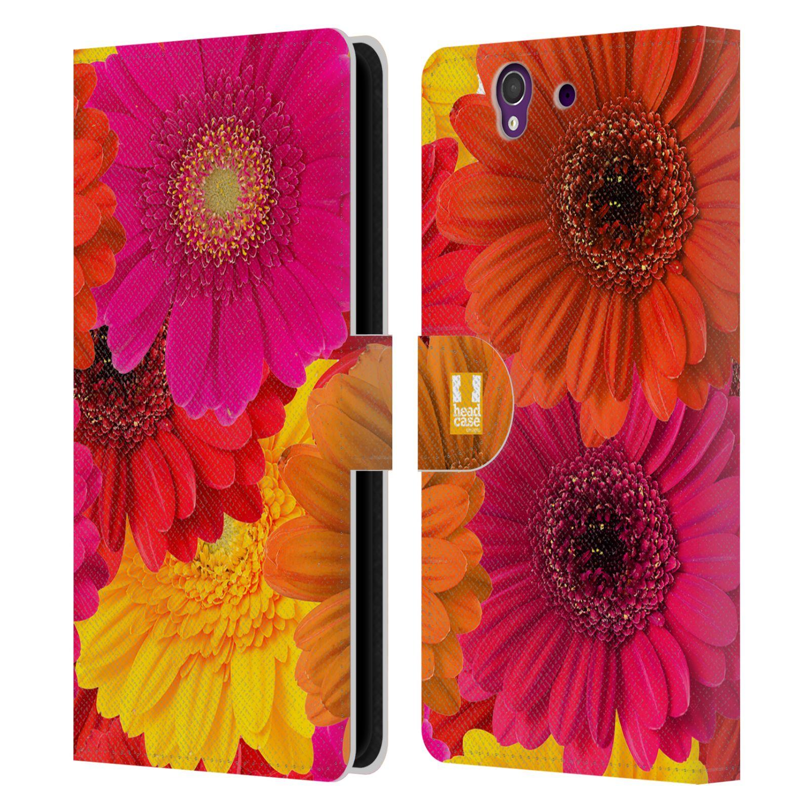 HEAD CASE Flipové pouzdro pro mobil SONY XPERIA Z (C6603) květy foto fialová, oranžová GERBERA