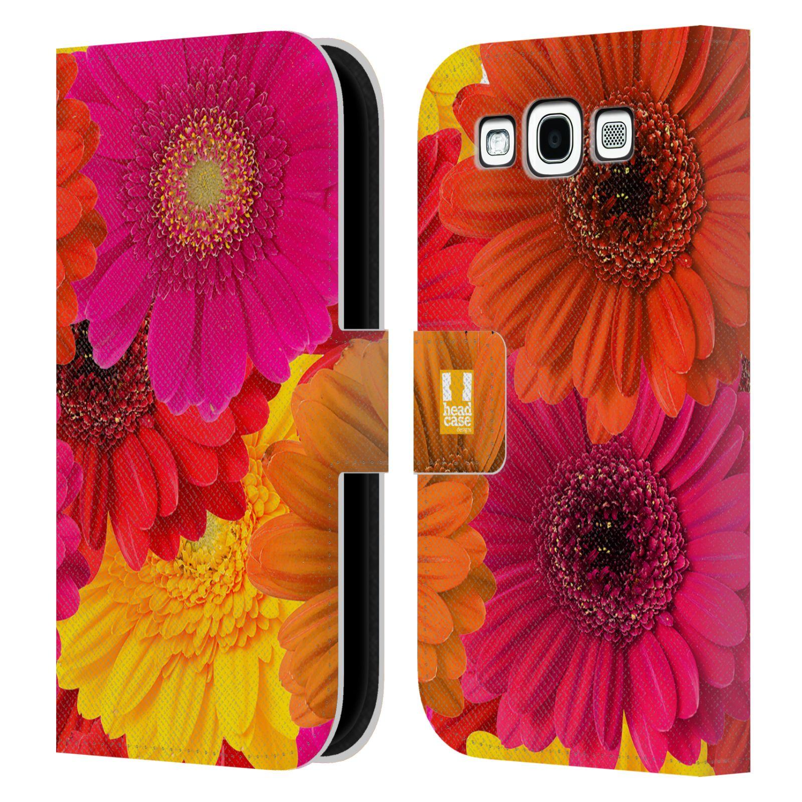HEAD CASE Flipové pouzdro pro mobil Samsung Galaxy S3 květy foto fialová, oranžová GERBERA
