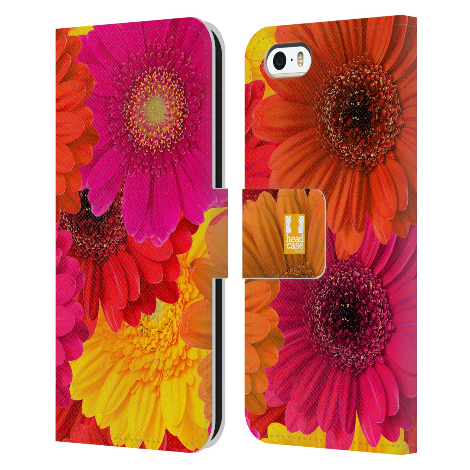 HEAD CASE Flipové pouzdro pro mobil Apple Iphone 5/5s květy foto fialová, oranžová GERBERA