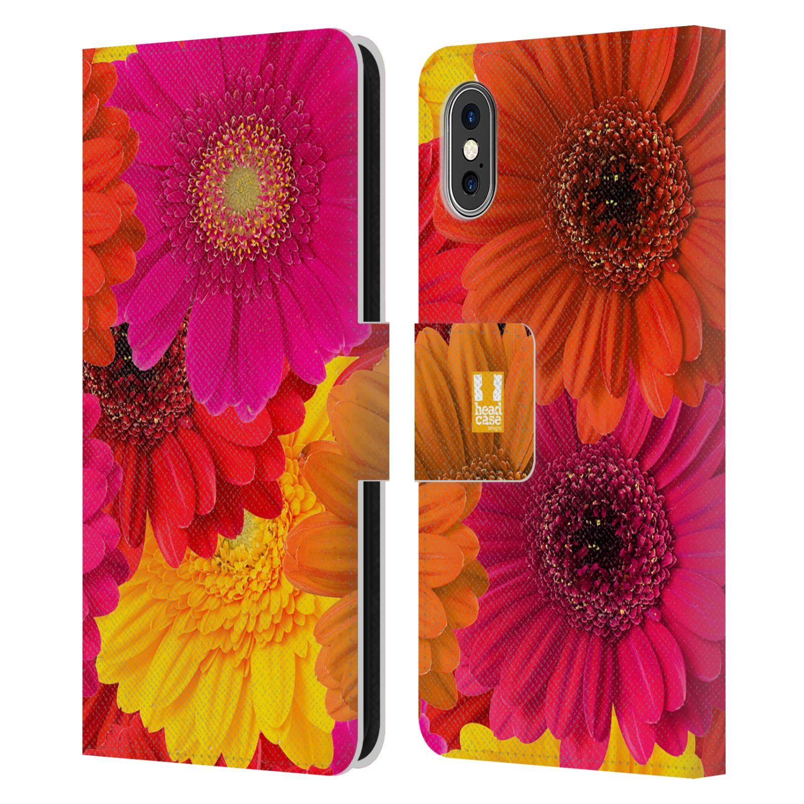 HEAD CASE Flipové pouzdro pro mobil Apple Iphone X / XS květy foto fialová, oranžová GERBERA