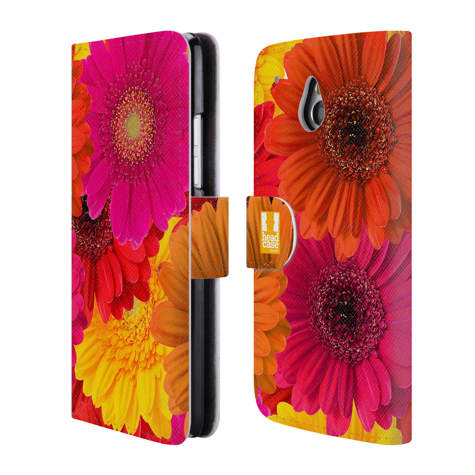 HEAD CASE Flipové pouzdro pro mobil HTC ONE MINI (M4) květy foto fialová, oranžová GERBERA