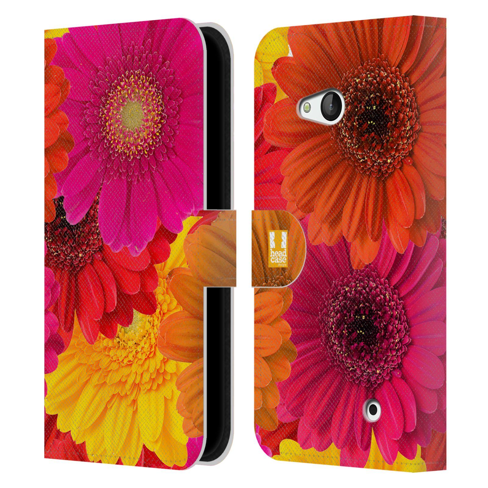HEAD CASE Flipové pouzdro pro mobil NOKIA / MICROSOFT LUMIA 640 / LUMIA 640 DUAL květy foto fialová, oranžová GERBERA