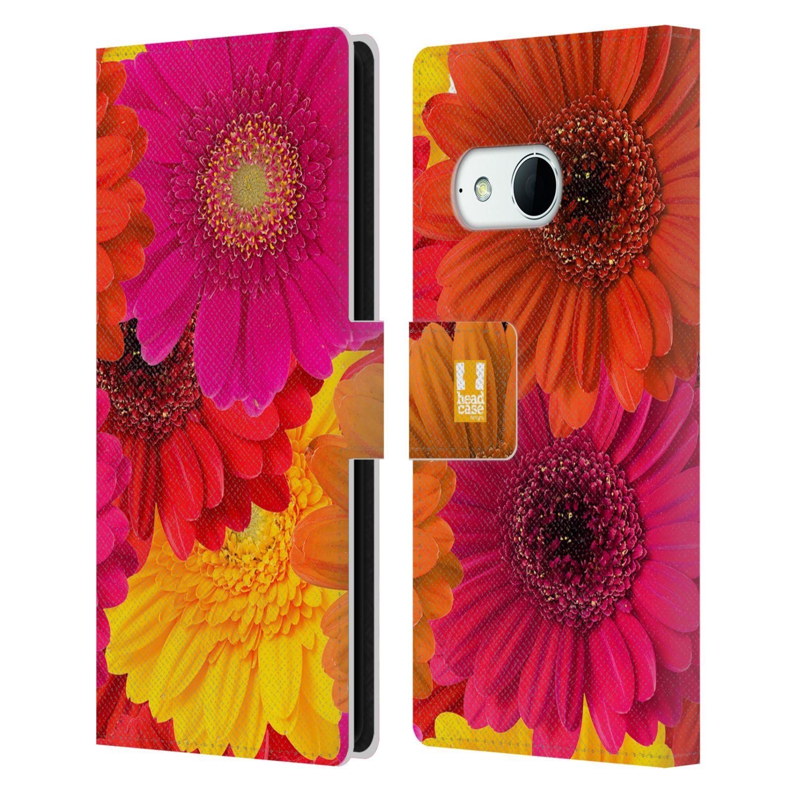 HEAD CASE Flipové pouzdro pro mobil HTC ONE MINI 2 (M8) květy foto fialová, oranžová GERBERA