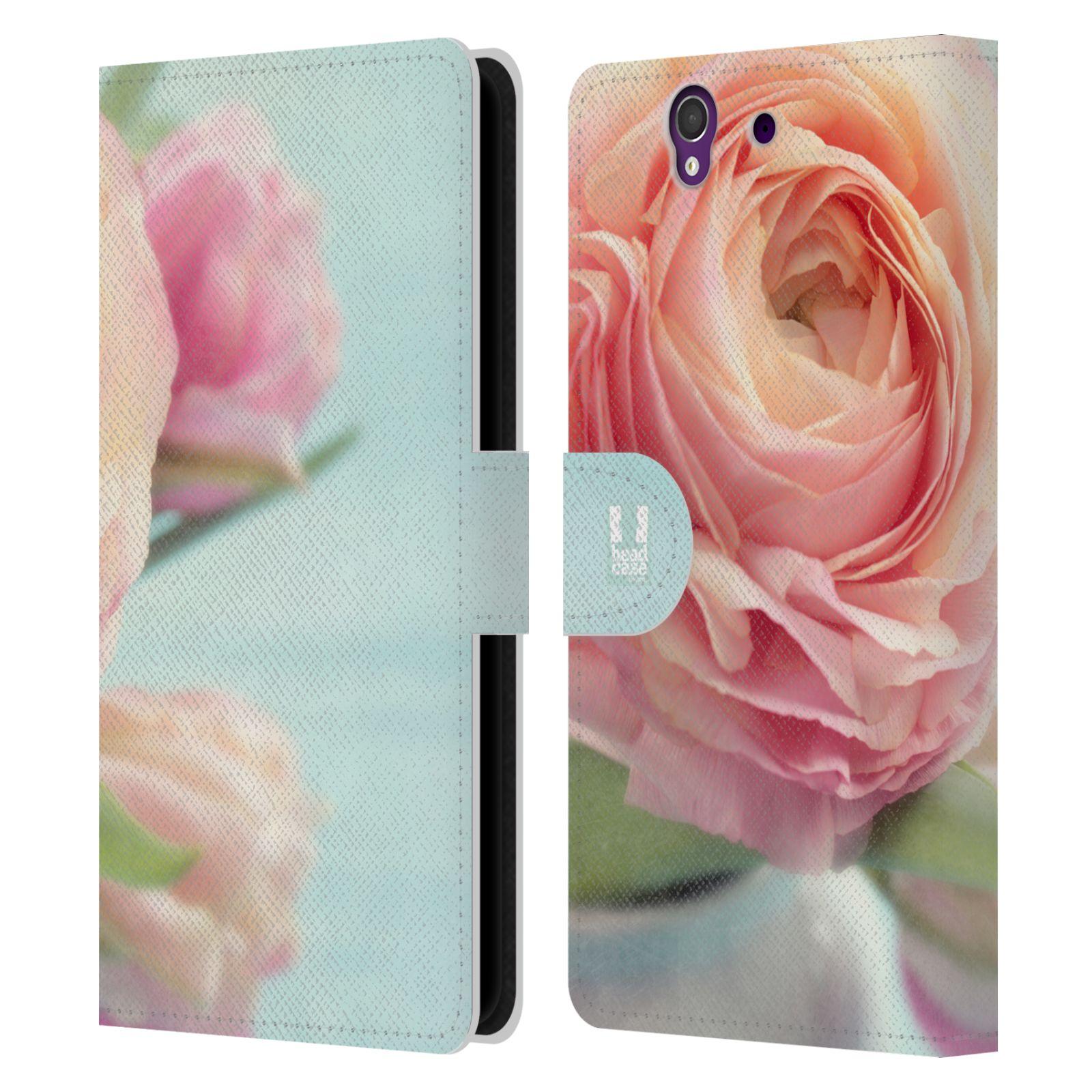 HEAD CASE Flipové pouzdro pro mobil SONY XPERIA Z (C6603) květy foto růže růžová
