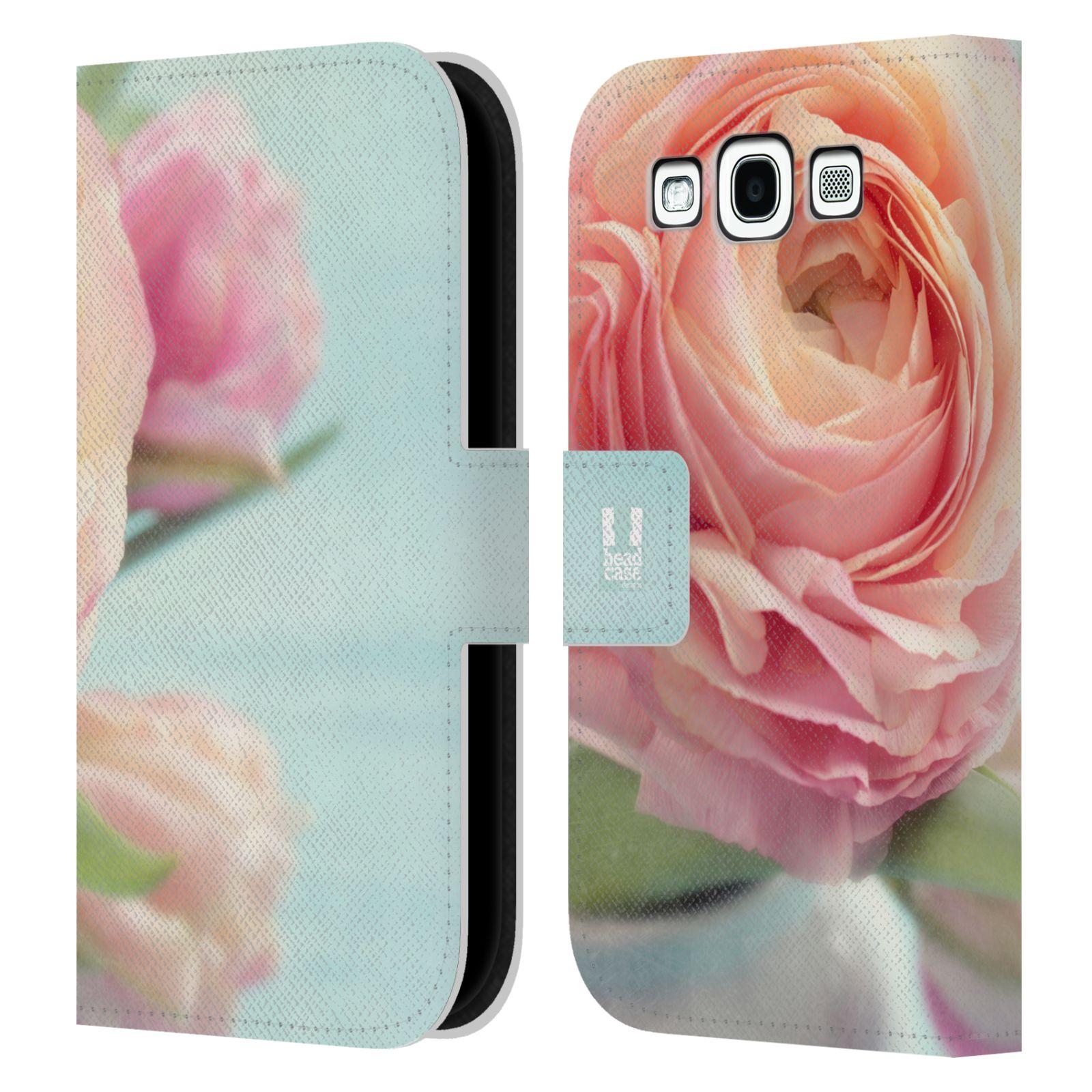 HEAD CASE Flipové pouzdro pro mobil Samsung Galaxy S3 květy foto růže růžová