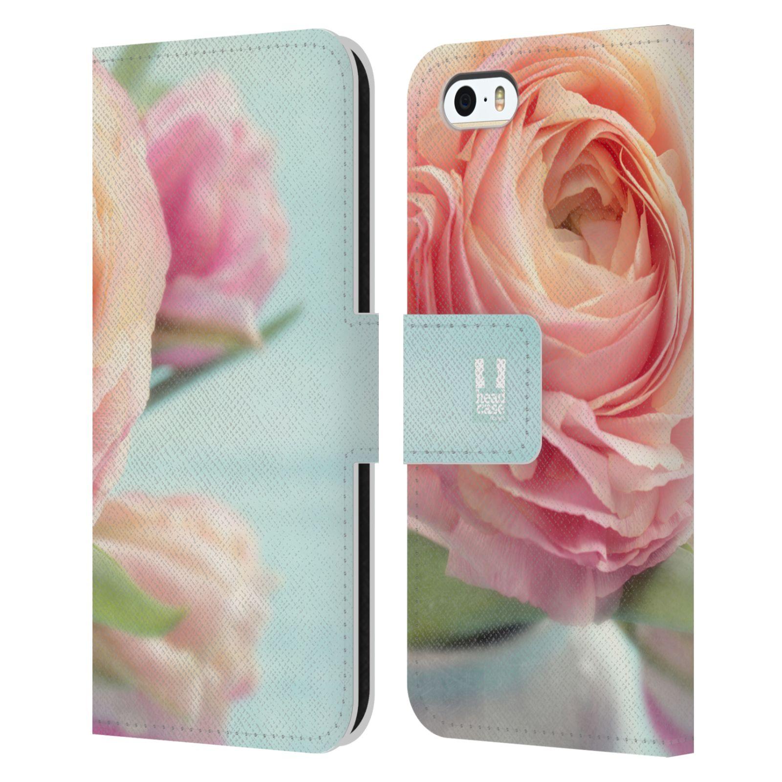 HEAD CASE Flipové pouzdro pro mobil Apple Iphone 5/5s květy foto růže růžová