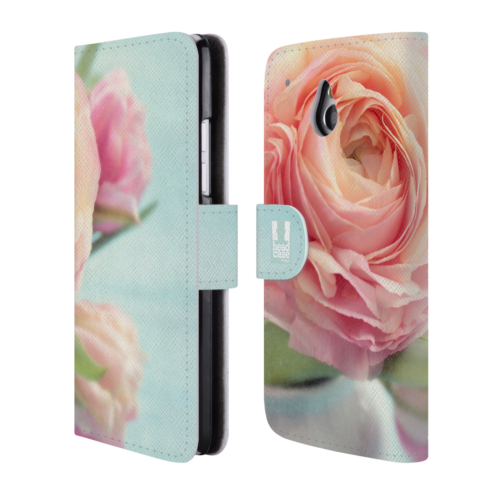 HEAD CASE Flipové pouzdro pro mobil HTC ONE MINI (M4) květy foto růže růžová