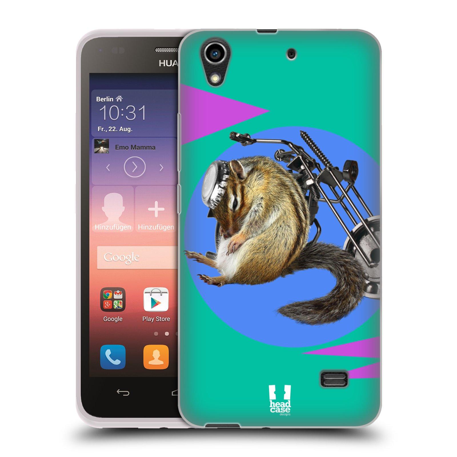 HEAD CASE silikonový obal na mobil Huawei Honor 4 Play Legrační zvířátka veverka motorkář chipmunk