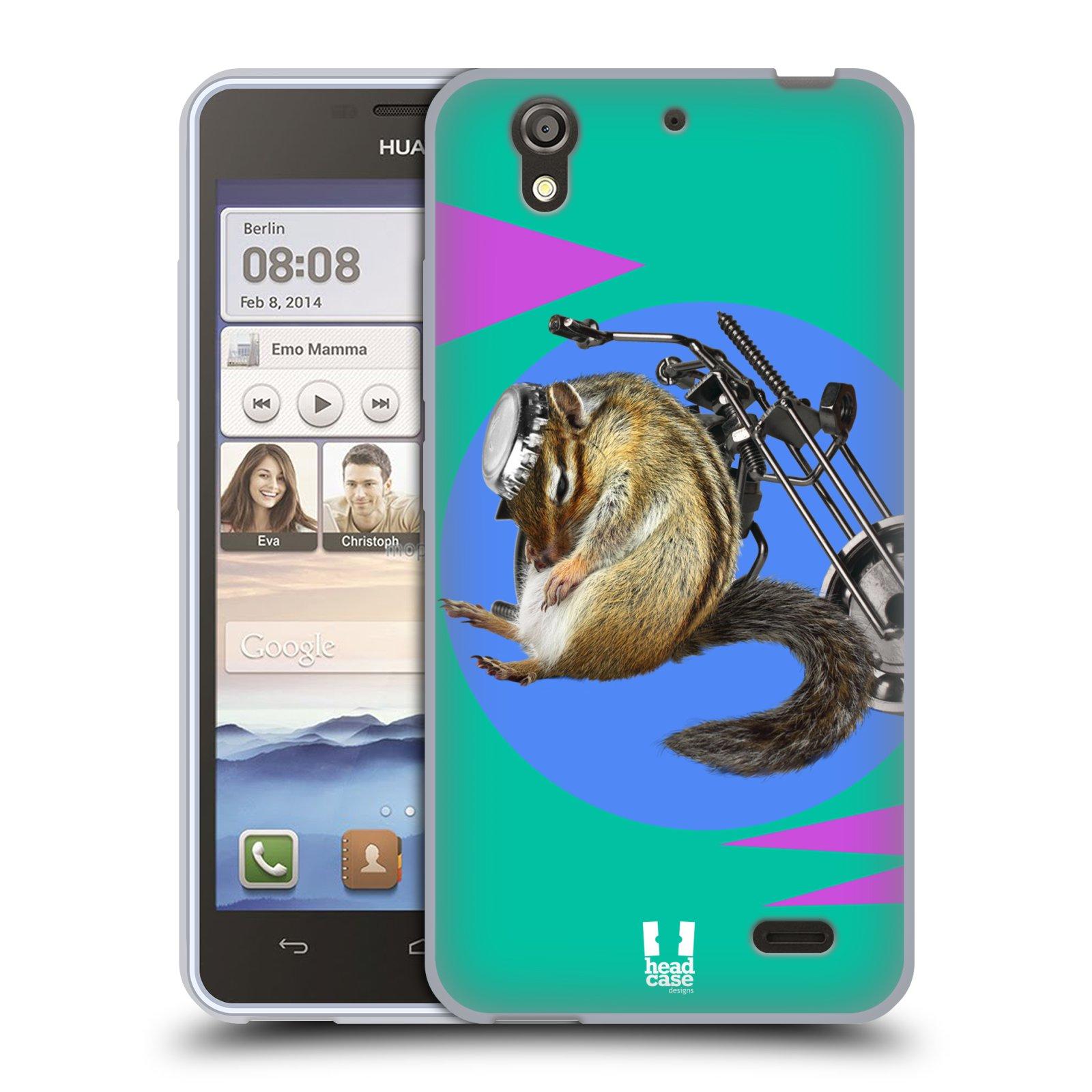 HEAD CASE silikonový obal na mobil Huawei Ascend G630 Legrační zvířátka veverka motorkář chipmunk