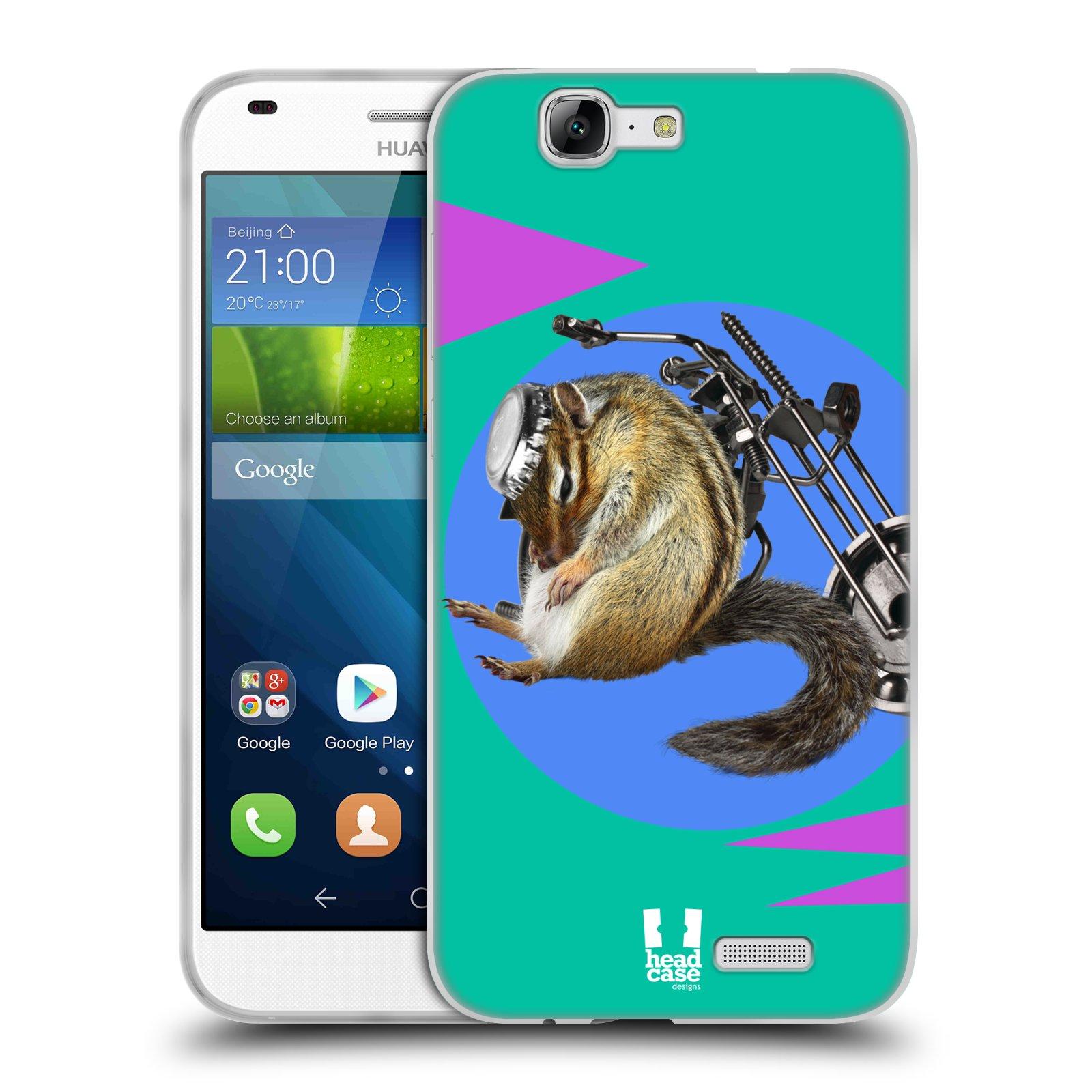 HEAD CASE silikonový obal na mobil Huawei Ascend G7 Legrační zvířátka veverka motorkář chipmunk