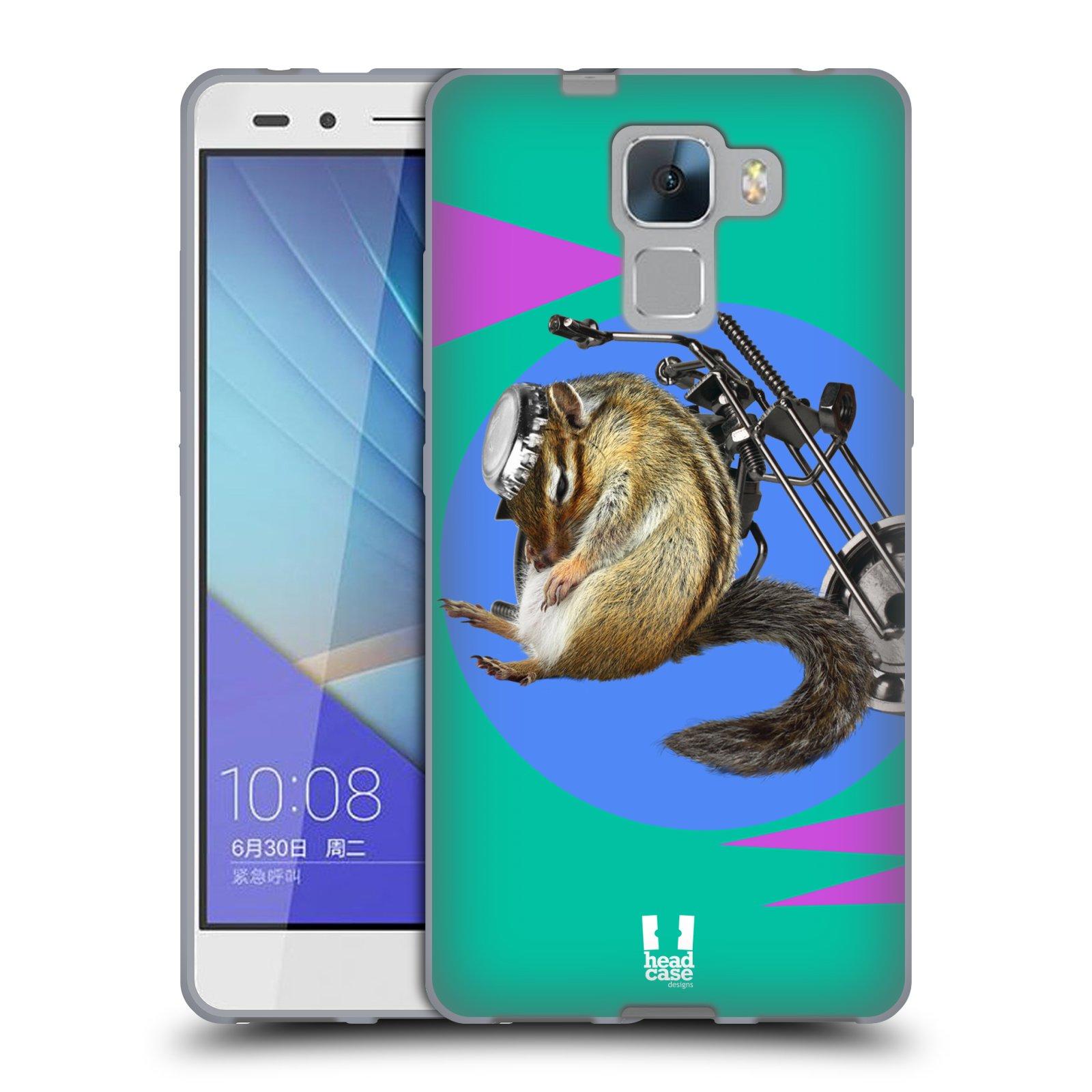 HEAD CASE silikonový obal na mobil Huawei Honor 7 Legrační zvířátka veverka motorkář chipmunk