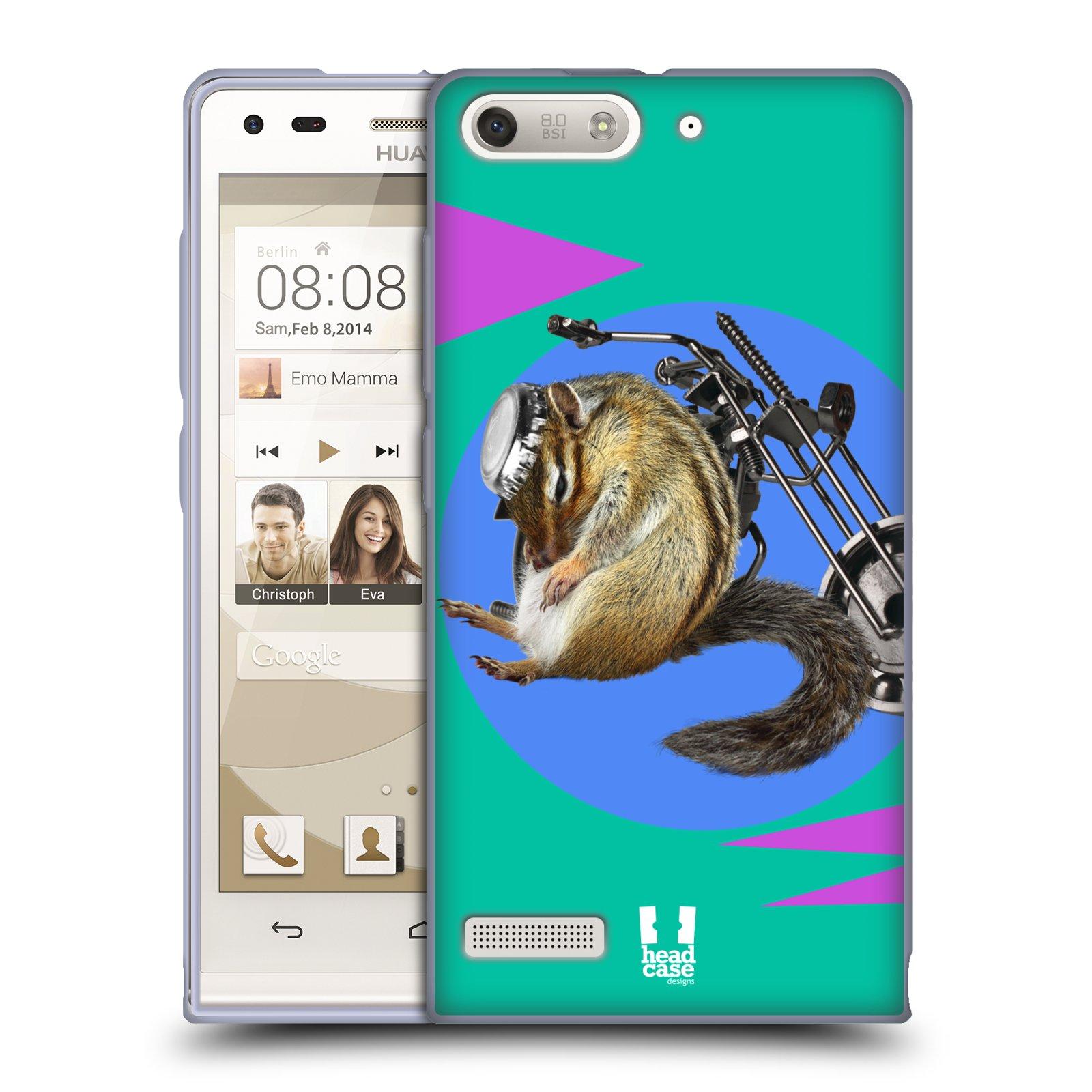 HEAD CASE silikonový obal na mobil Huawei Ascend G6 Legrační zvířátka veverka motorkář chipmunk