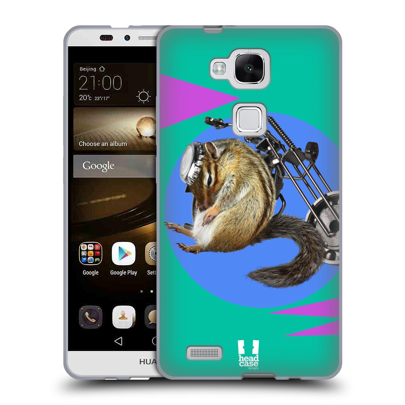 HEAD CASE silikonový obal na mobil Huawei Ascend MATE 7 Legrační zvířátka veverka motorkář chipmunk