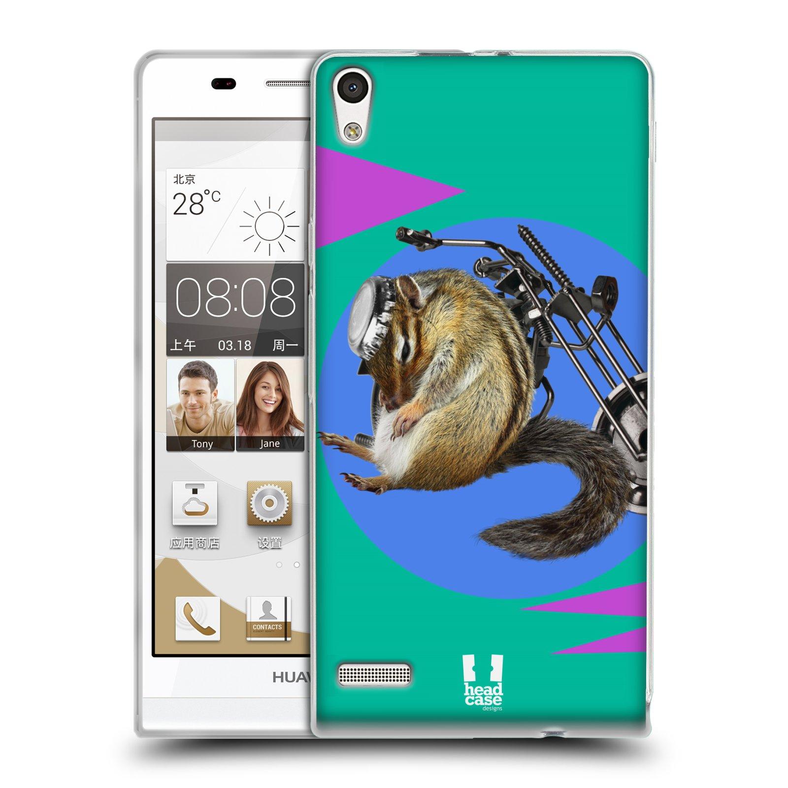 HEAD CASE silikonový obal na mobil Huawei Ascend P6 Legrační zvířátka veverka motorkář chipmunk