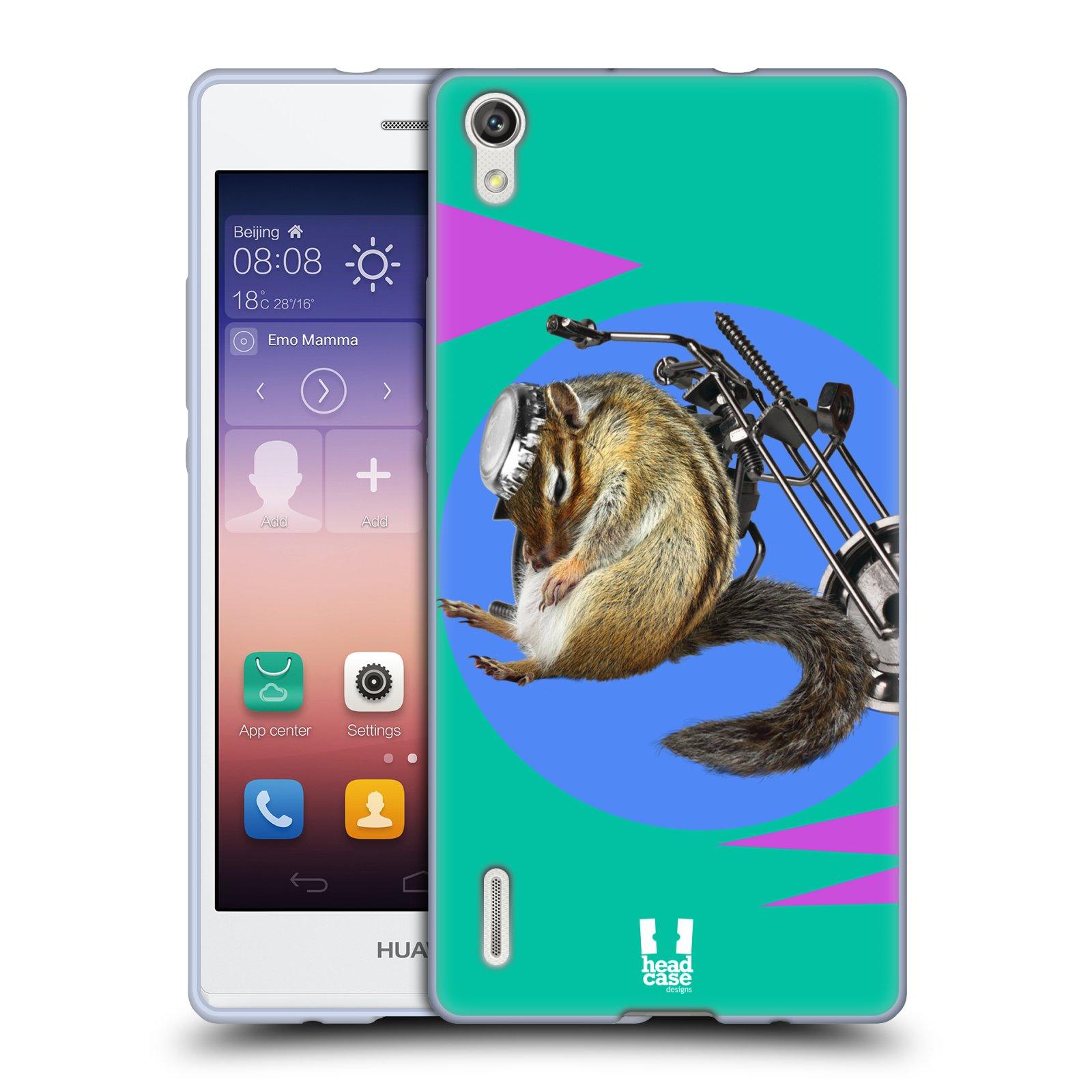 HEAD CASE silikonový obal na mobil Huawei Ascend P7 Legrační zvířátka veverka motorkář chipmunk