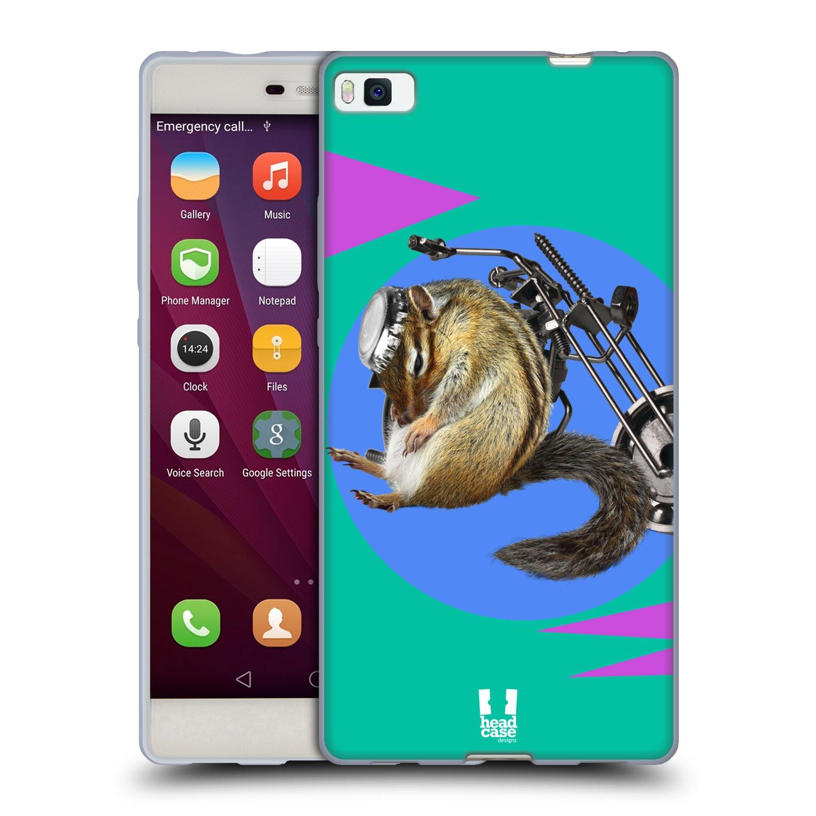 HEAD CASE silikonový obal na mobil Huawei P8 Legrační zvířátka veverka motorkář chipmunk