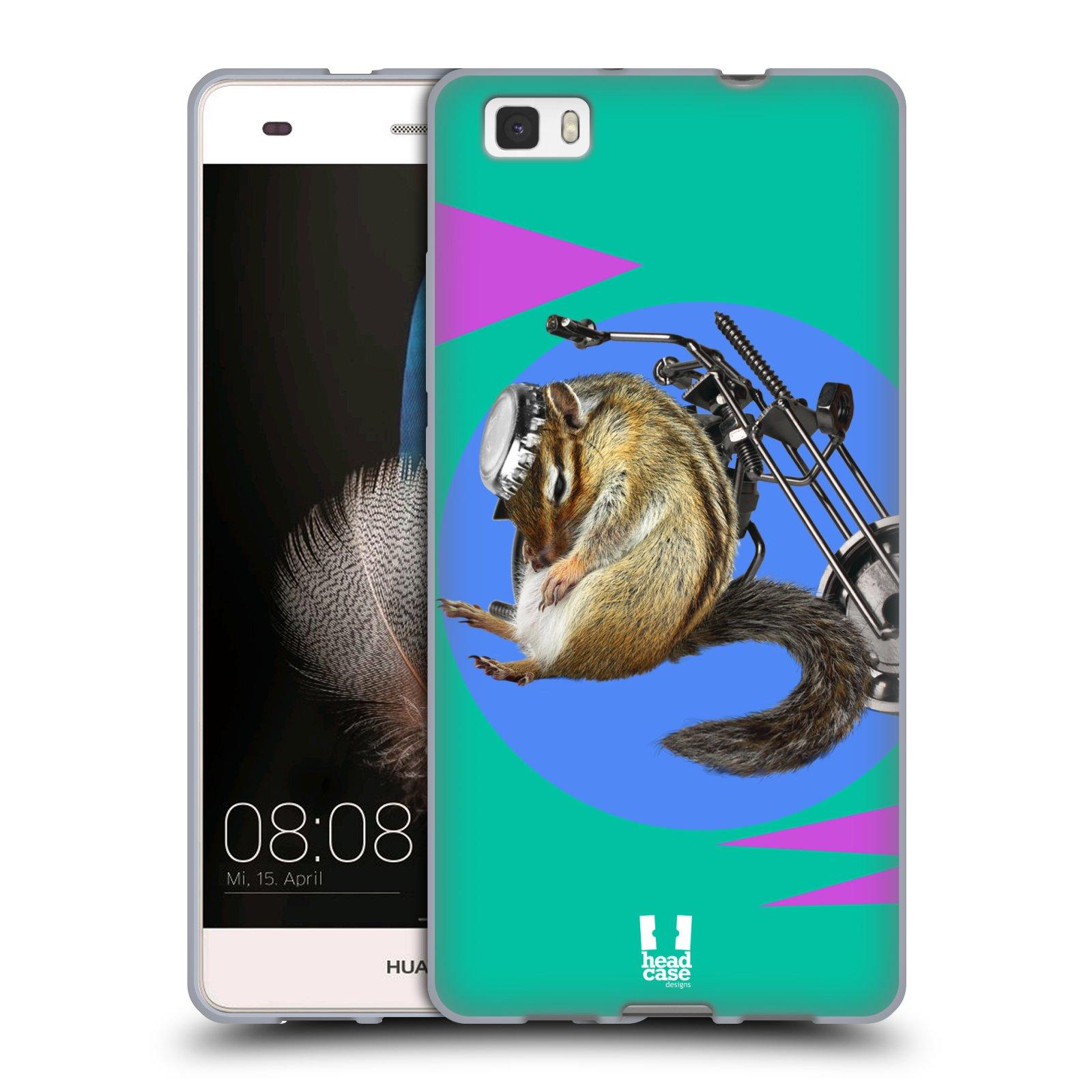 HEAD CASE silikonový obal na mobil Huawei P8 LITE Legrační zvířátka veverka motorkář chipmunk