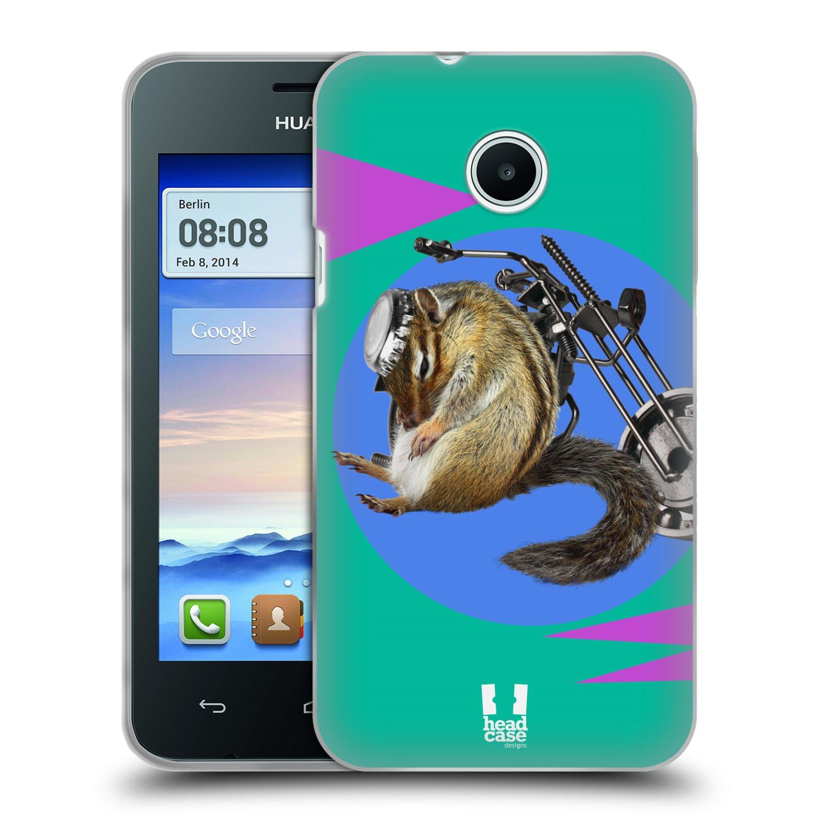 HEAD CASE silikonový obal na mobil Huawei Ascend Y330 Legrační zvířátka veverka motorkář chipmunk
