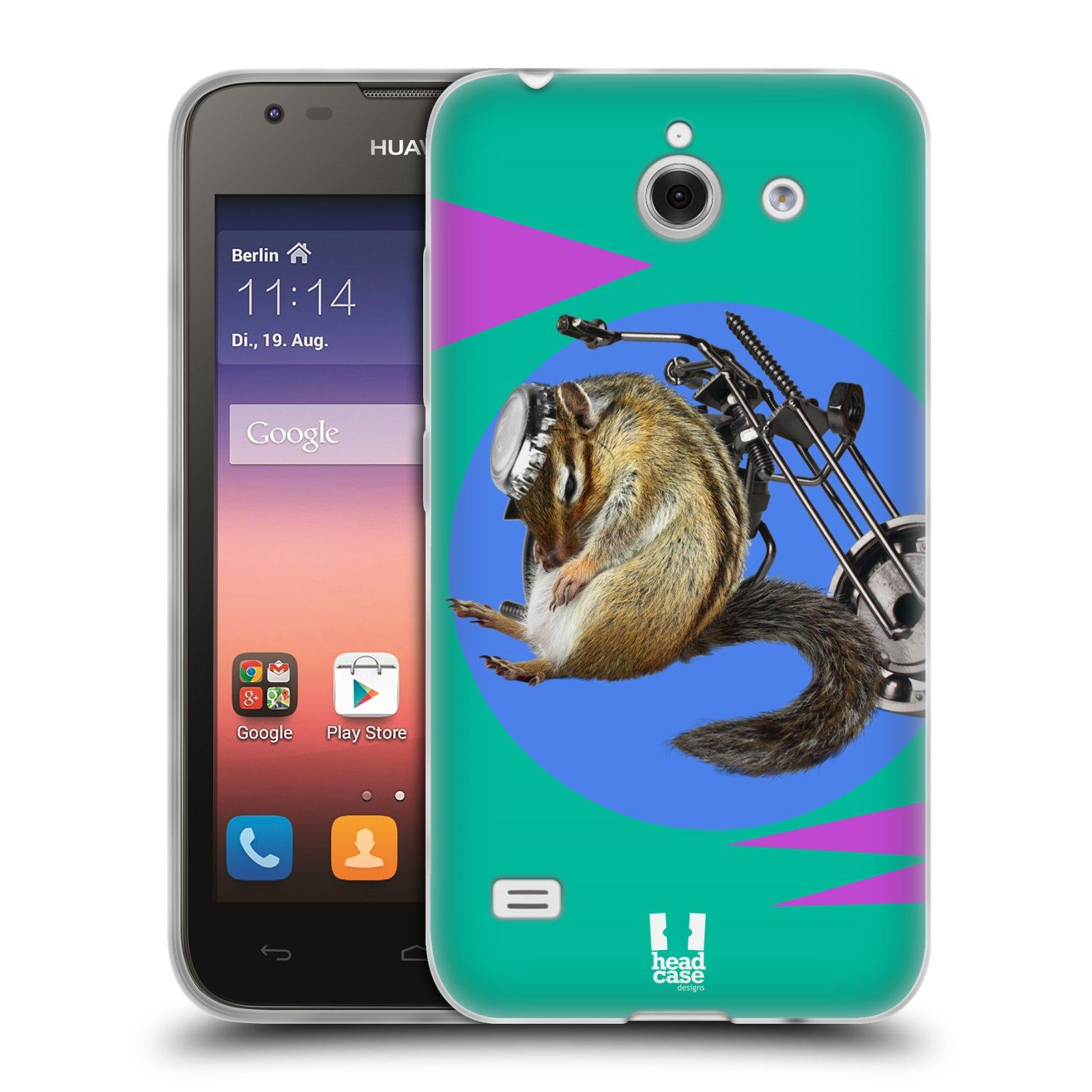 HEAD CASE silikonový obal na mobil Huawei Ascend Y550 Legrační zvířátka veverka motorkář chipmunk