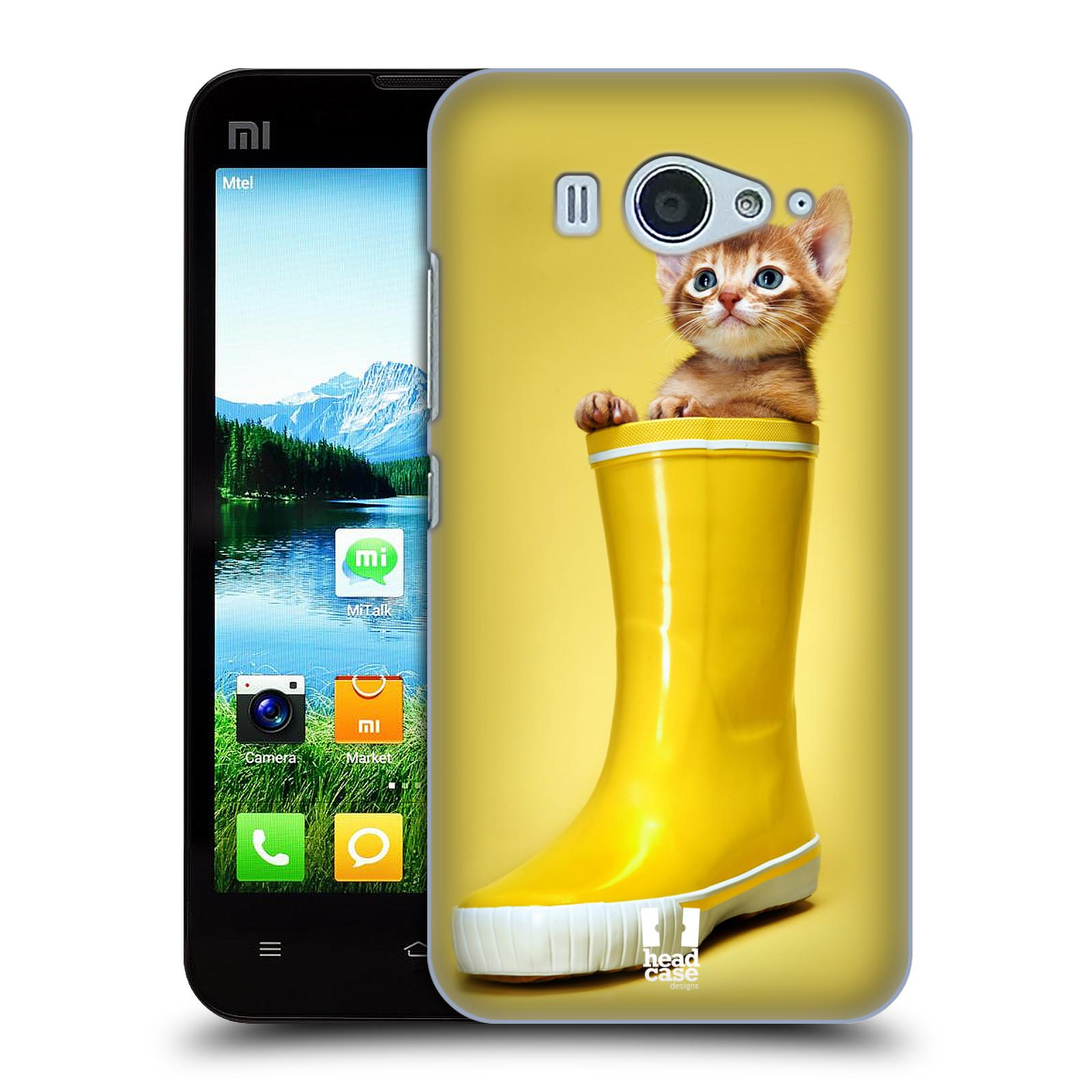 HEAD CASE pevný plastový obal na mobil XIAOMI MI2s vzor Legrační zvířátka kotě v botě žlutá