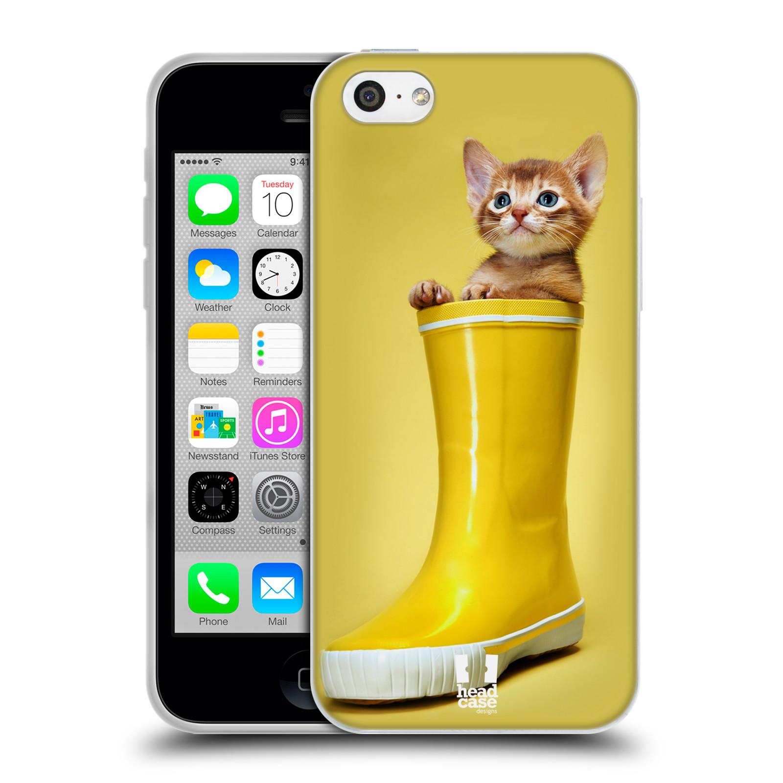 HEAD CASE silikonový obal na mobil Apple Iphone 5C vzor Legrační zvířátka kotě v botě žlutá