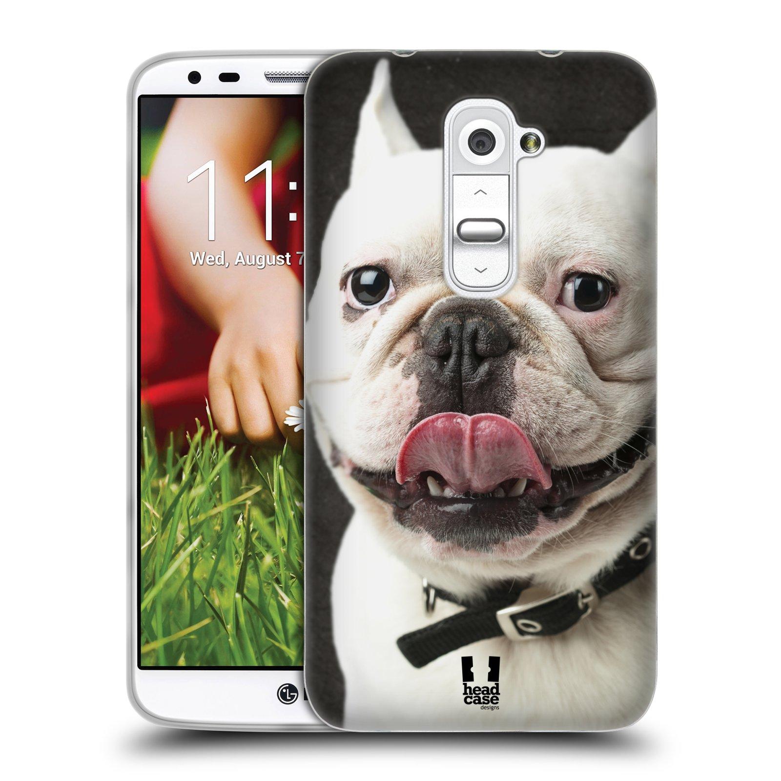 HEAD CASE silikonový obal na mobil LG G2 vzor Legrační zvířátka pejsek s vyplazeným jazykem BULDOK