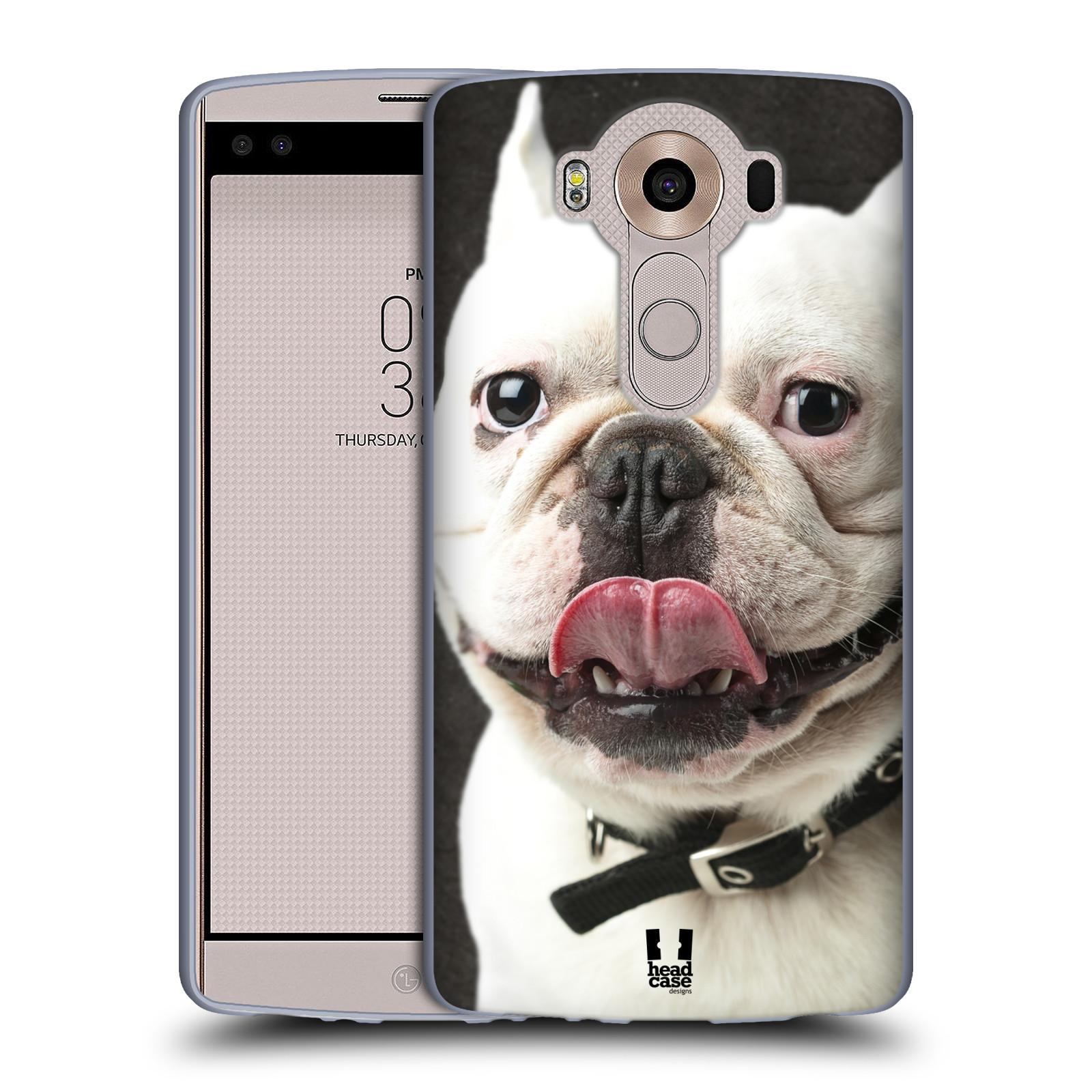 HEAD CASE silikonový obal na mobil LG V10 (H960A) vzor Legrační zvířátka pejsek s vyplazeným jazykem BULDOK