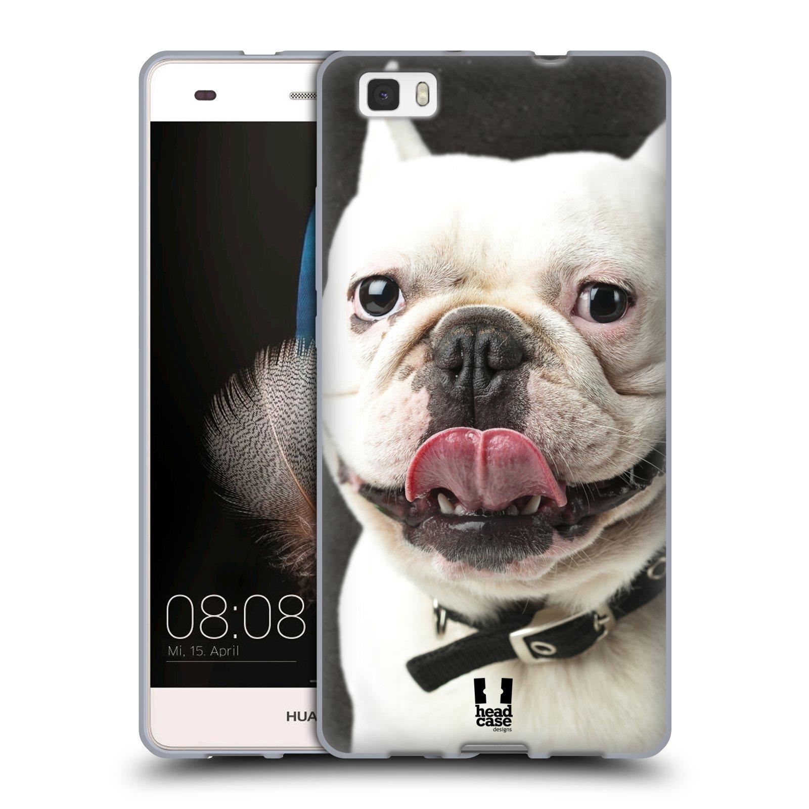 HEAD CASE silikonový obal na mobil Huawei  P8 LITE Legrační zvířátka Pejsek Buldog vyplazující jazyk