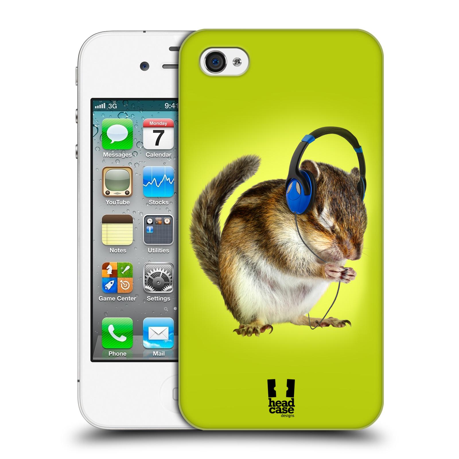 HEAD CASE plastový obal na mobil Apple Iphone 4/4S vzor Legrační zvířátka veverka se sluchátky