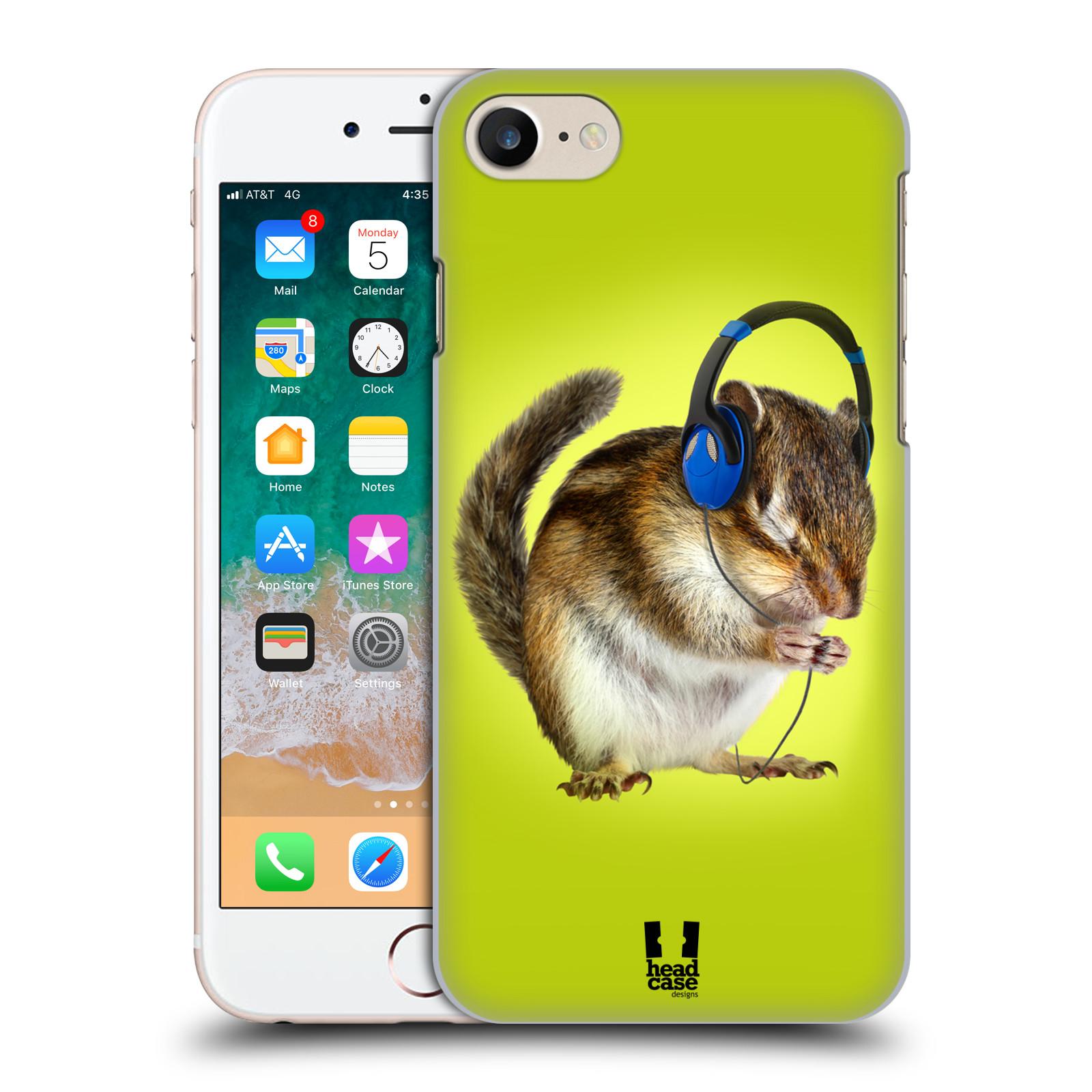 HEAD CASE plastový obal na mobil Apple Iphone 7 vzor Legrační zvířátka veverka se sluchátky