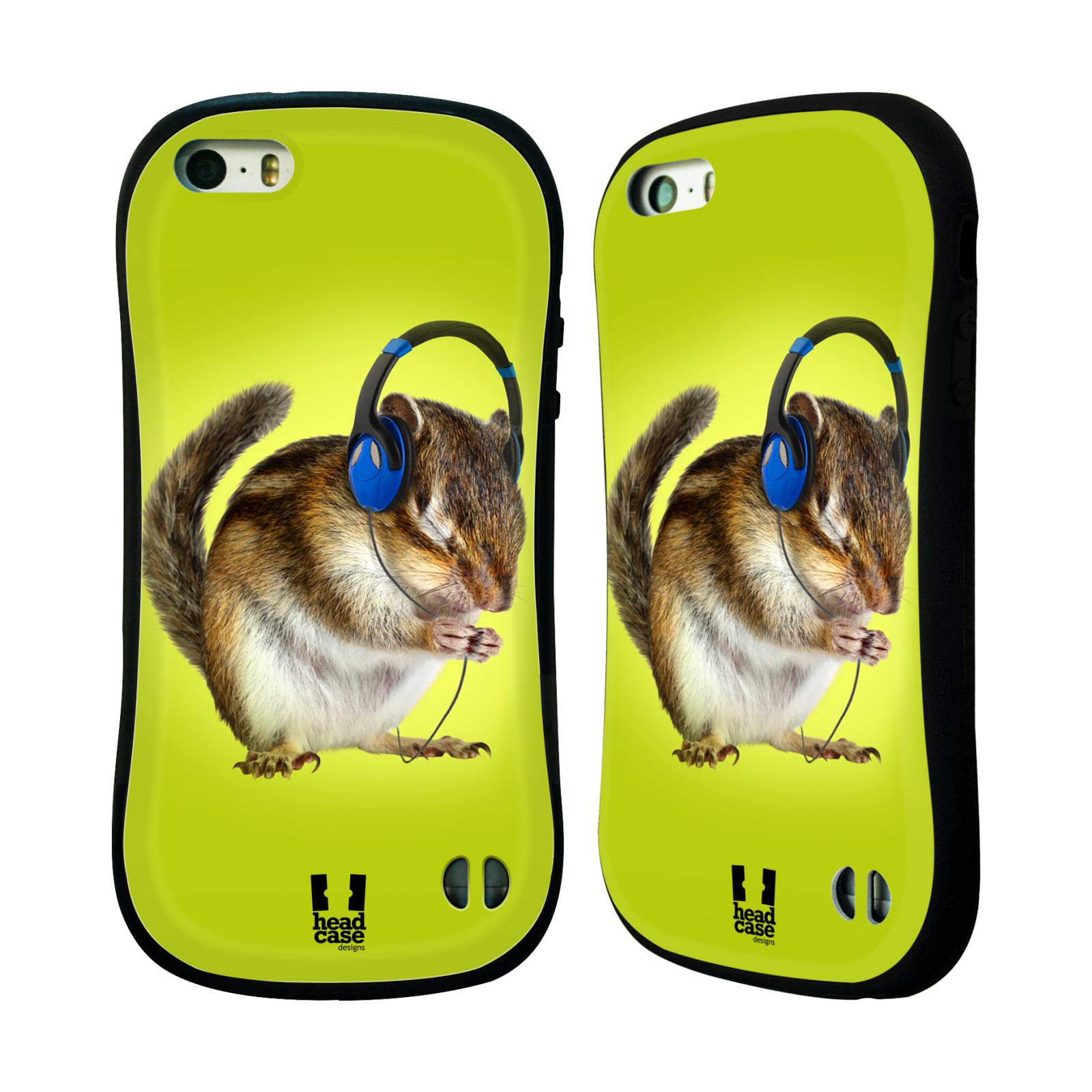 HEAD CASE silikon/plast odolný obal na mobil Apple Iphone 5/5S vzor Legrační zvířátka veverka se sluchátky