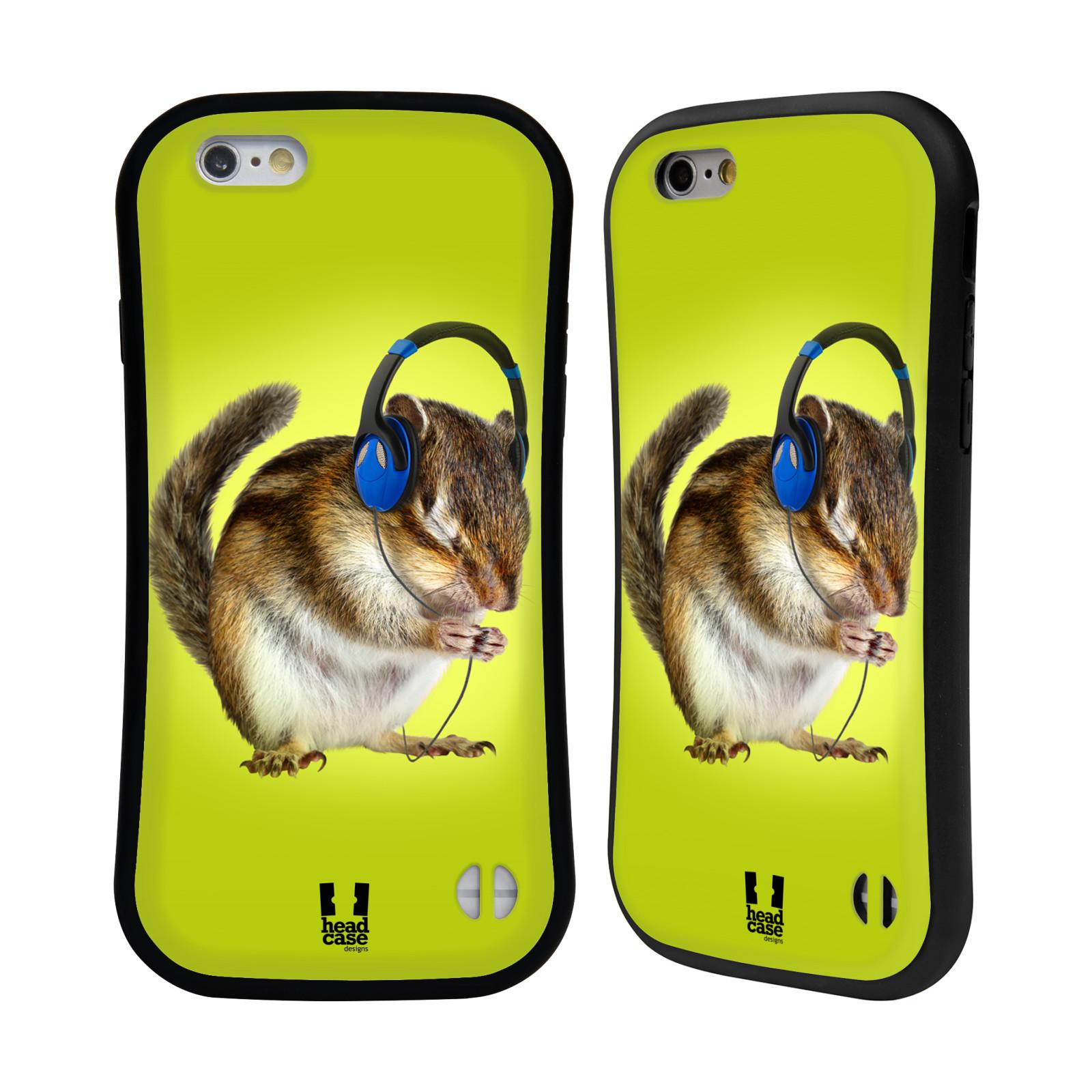 HEAD CASE silikon/plast odolný obal na mobil Apple Iphone 6/6S vzor Legrační zvířátka veverka se sluchátky