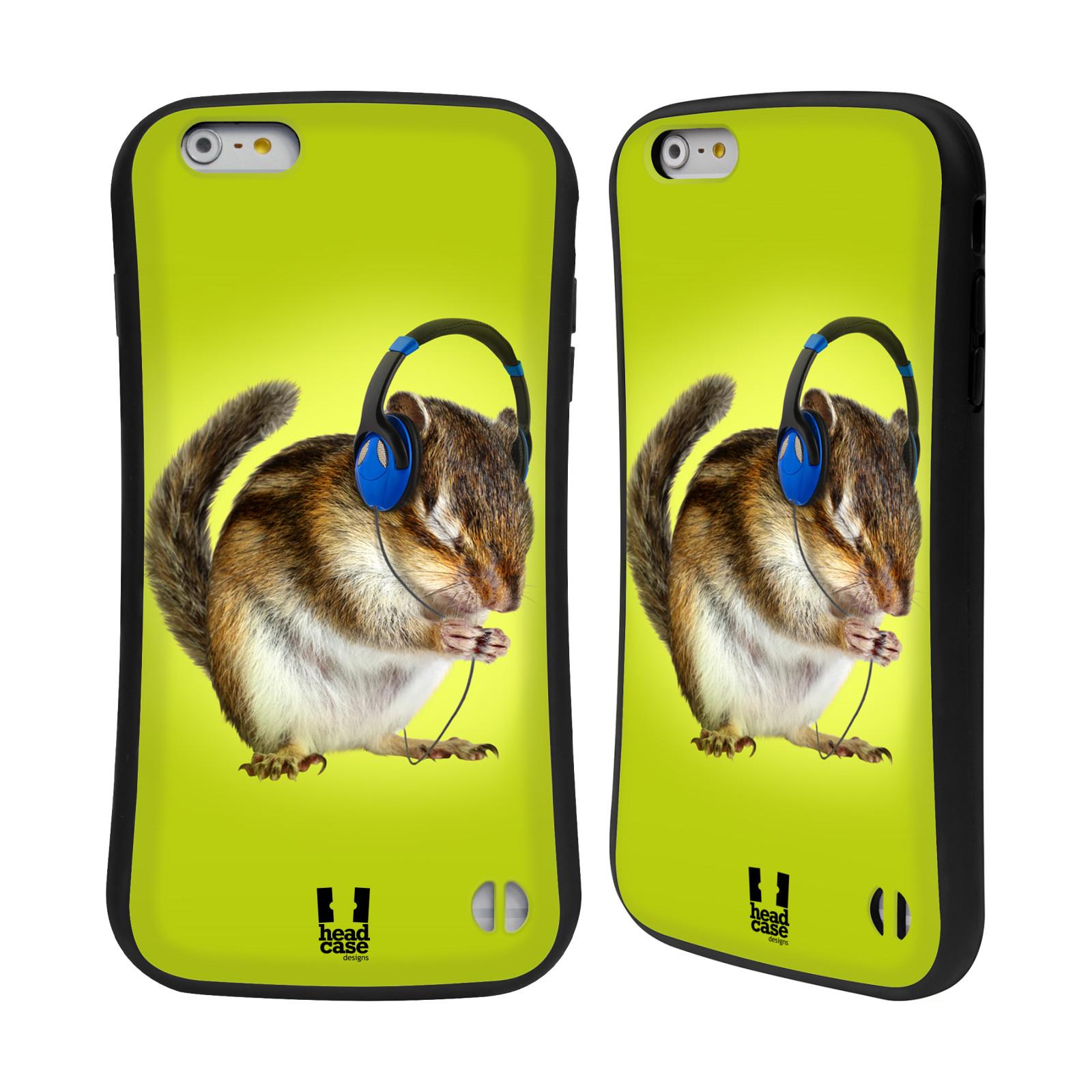HEAD CASE silikon/plast odolný obal na mobil Apple Iphone 6 PLUS / 6S PLUS vzor Legrační zvířátka veverka se sluchátky