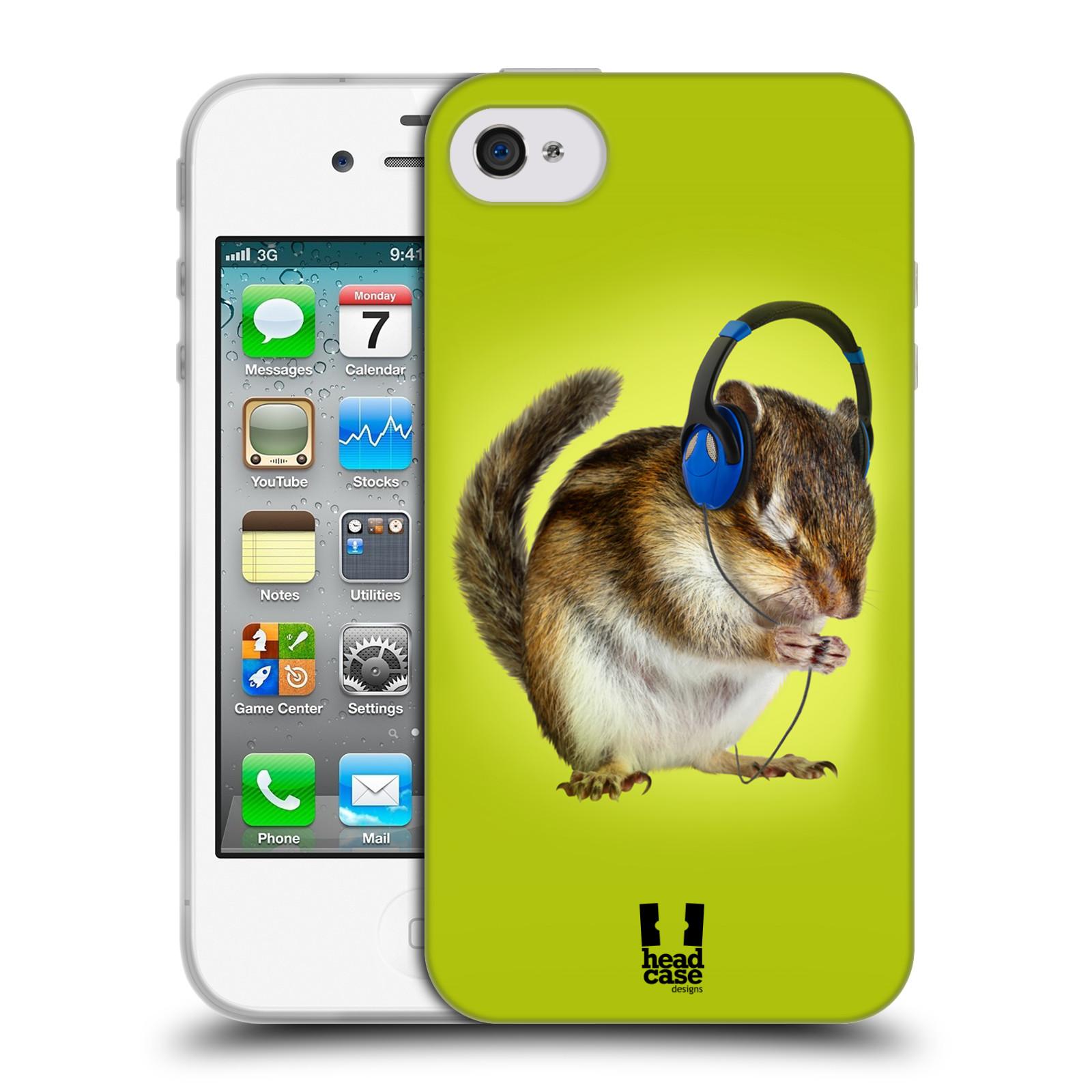 HEAD CASE silikonový obal na mobil Apple Iphone 4/4S vzor Legrační zvířátka veverka se sluchátky
