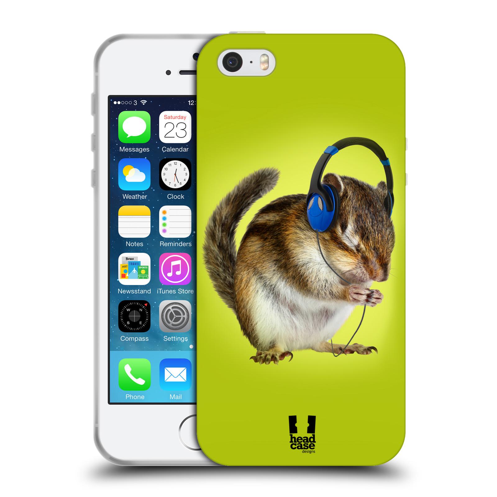 HEAD CASE silikonový obal na mobil Apple Iphone 5/5S vzor Legrační zvířátka veverka se sluchátky