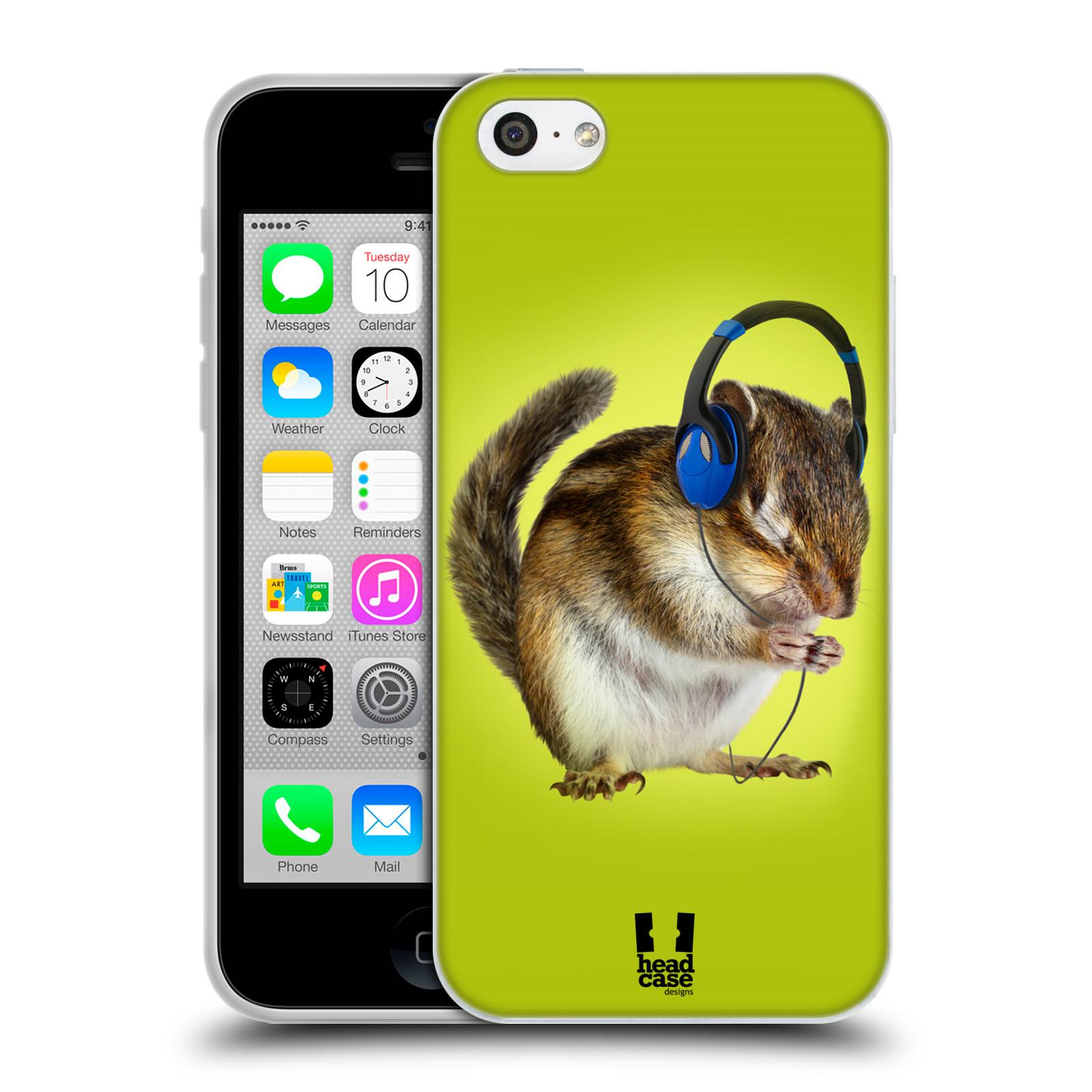 HEAD CASE silikonový obal na mobil Apple Iphone 5C vzor Legrační zvířátka veverka se sluchátky
