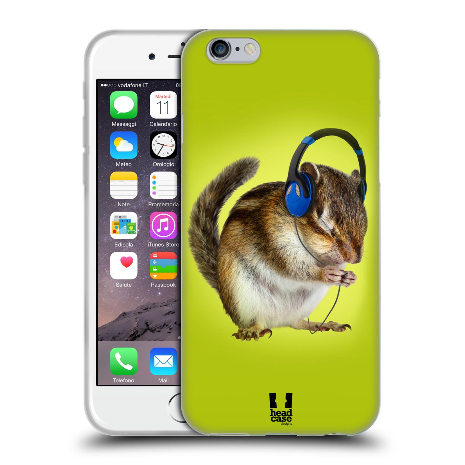 HEAD CASE silikonový obal na mobil Apple Iphone 6/6S vzor Legrační zvířátka veverka se sluchátky