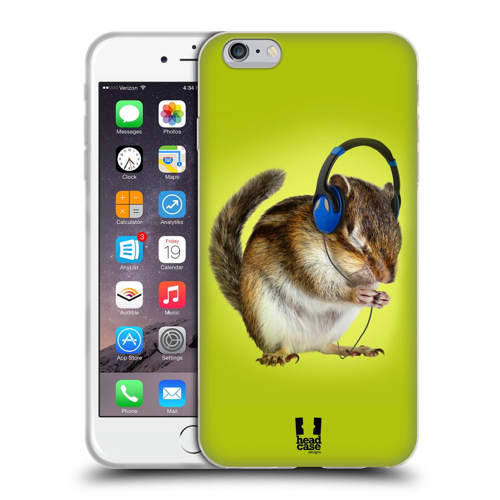 HEAD CASE silikonový obal na mobil Apple Iphone 6 PLUS/ 6S PLUS vzor Legrační zvířátka veverka se sluchátky