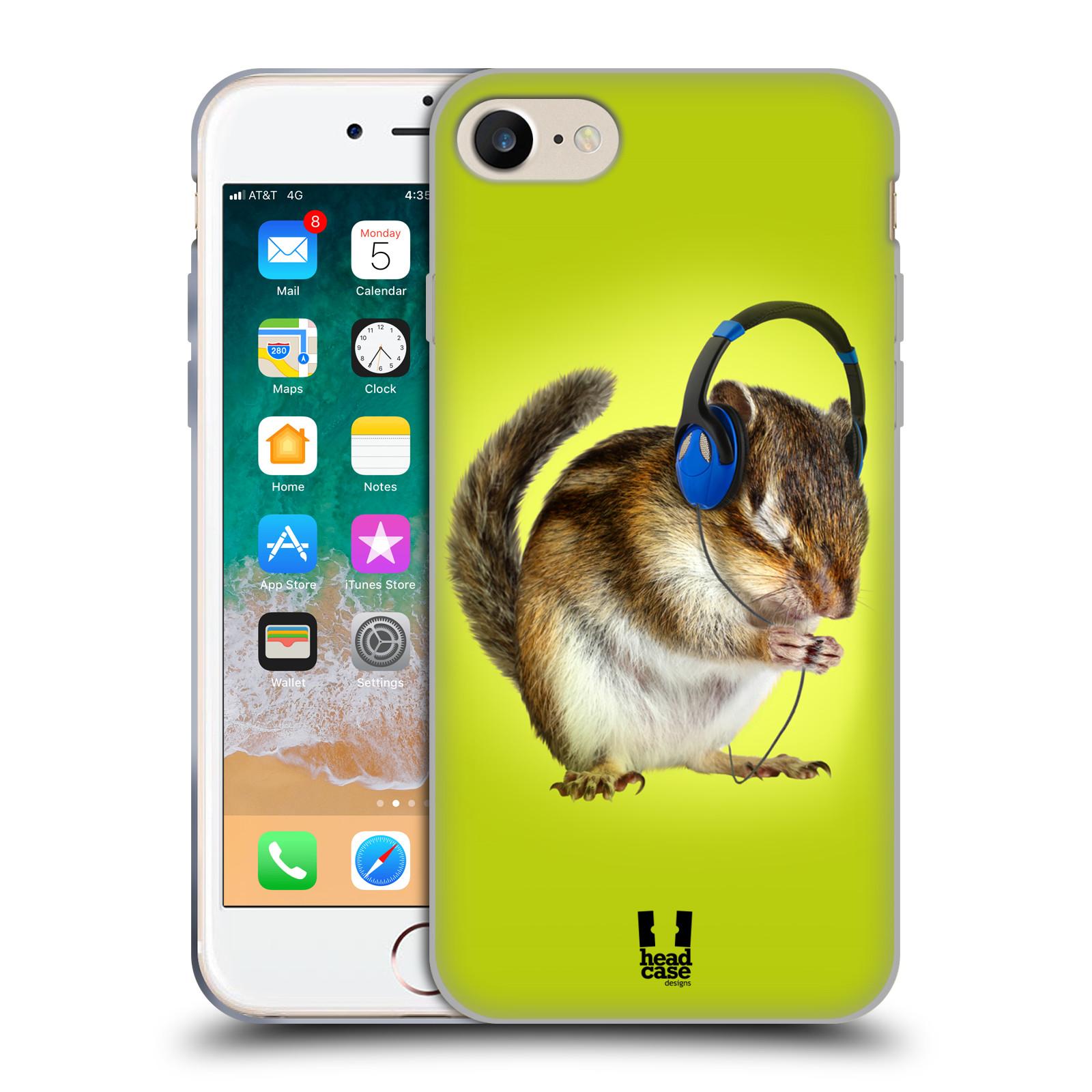 HEAD CASE silikonový obal na mobil Apple Iphone 7 vzor Legrační zvířátka veverka se sluchátky