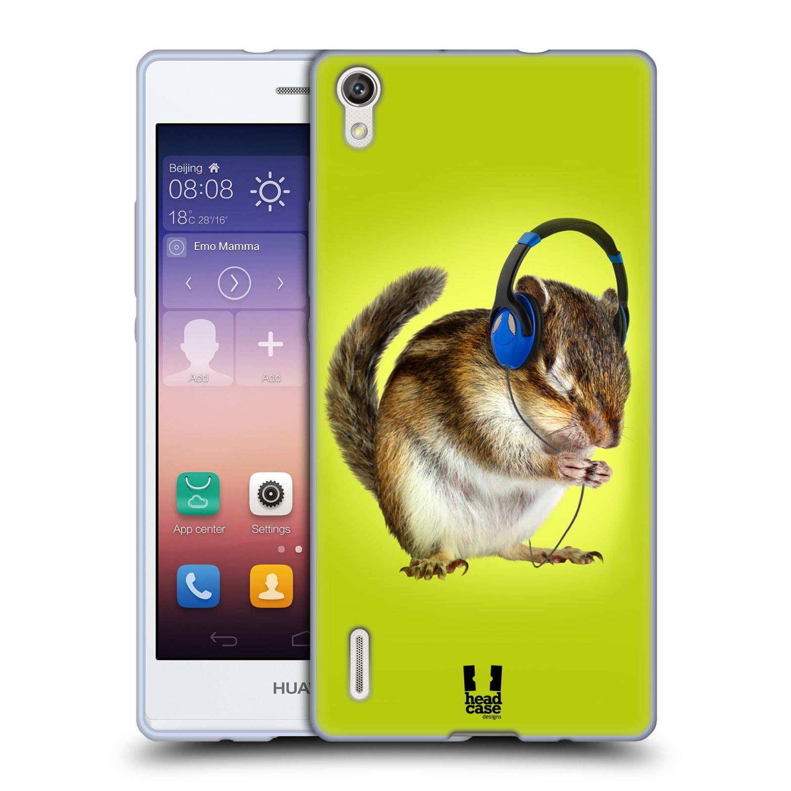 HEAD CASE silikonový obal na mobil HUAWEI Ascend P7 vzor Legrační zvířátka veverka se sluchátky
