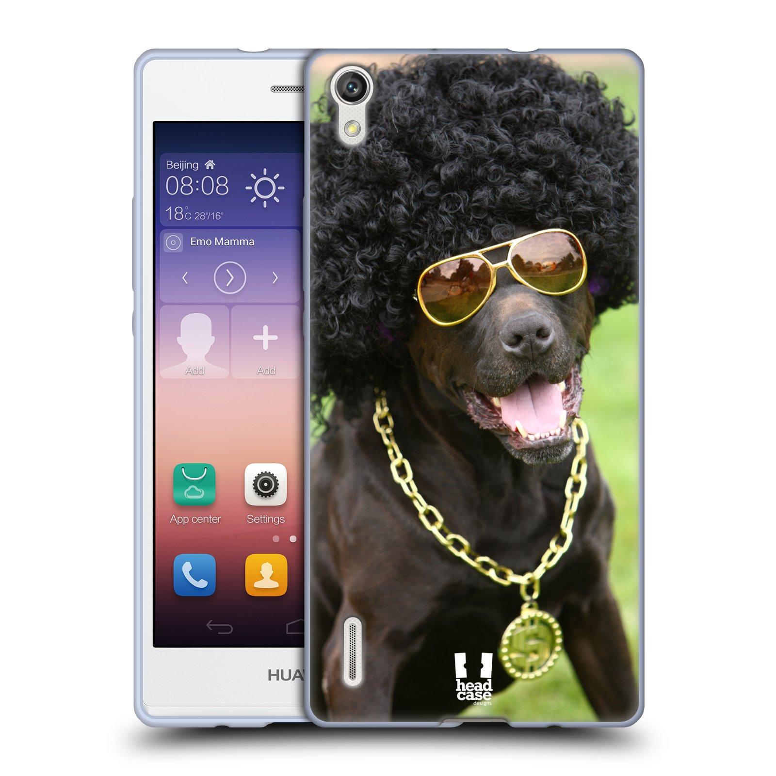 HEAD CASE silikonový obal na mobil Huawei Ascend P7 Legrační zvířátka Dalmatin se sluchátky