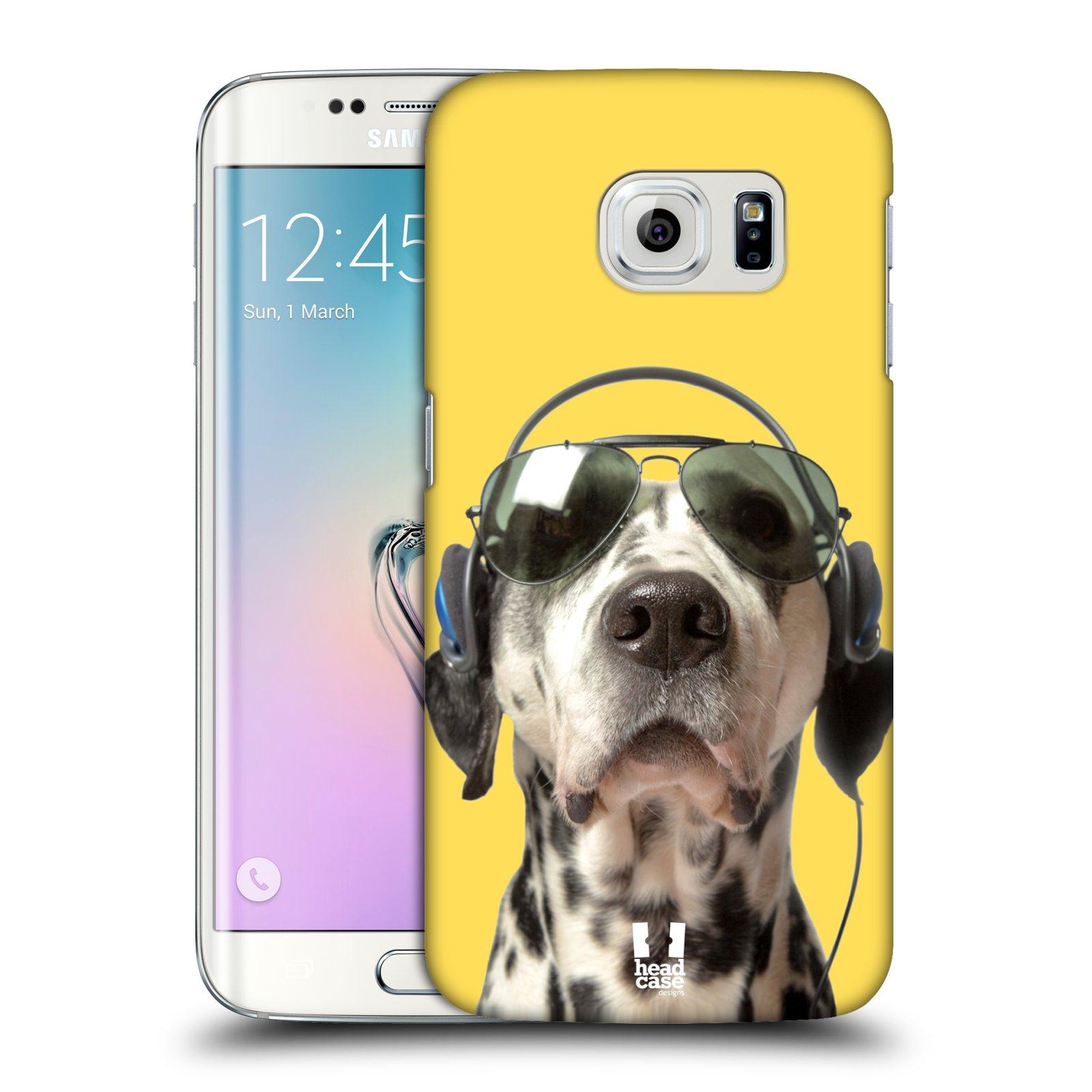 HEAD CASE plastový obal na mobil SAMSUNG Galaxy S6 EDGE (G9250, G925, G925F) vzor Legrační zvířátka dalmatin se sluchátky žlutá