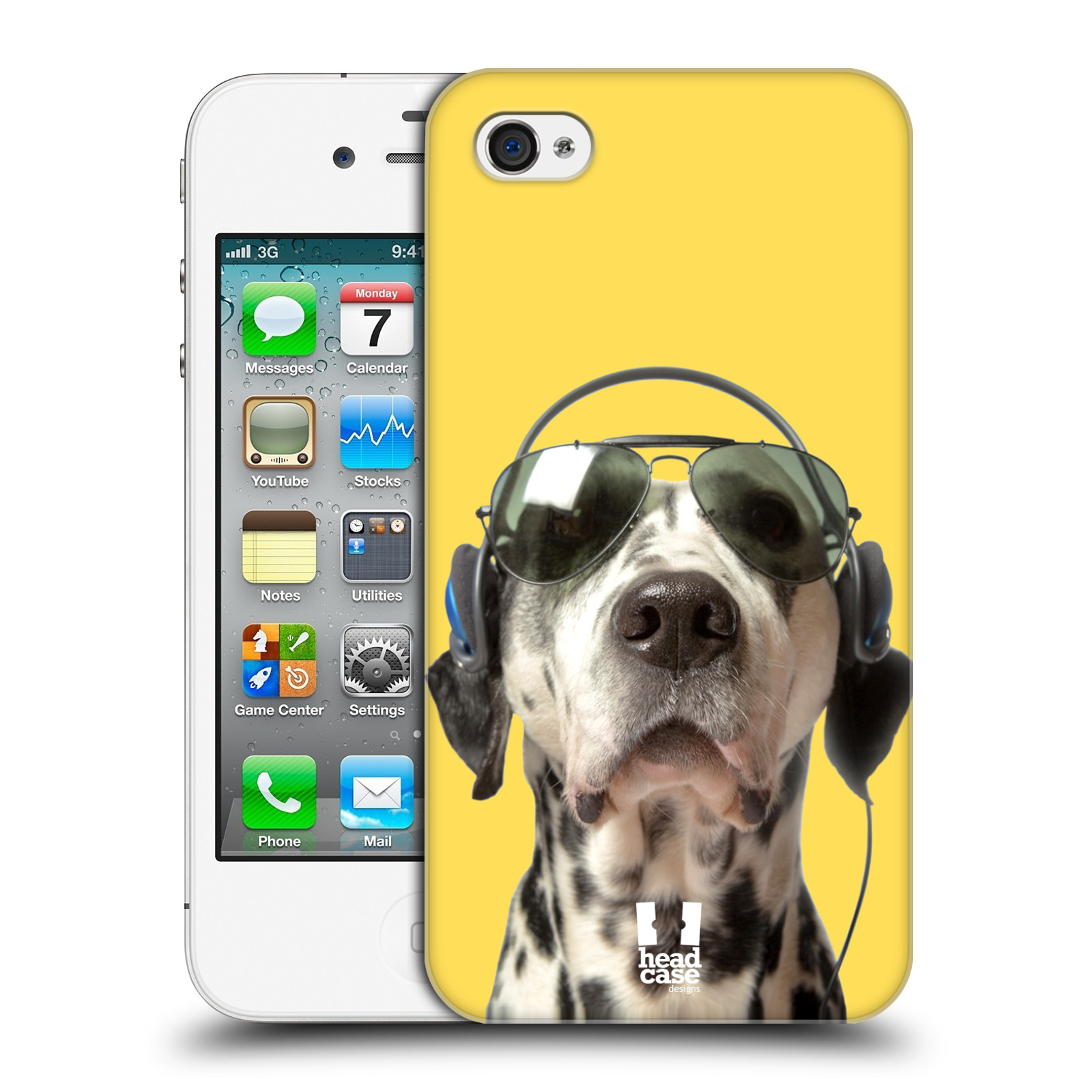 HEAD CASE plastový obal na mobil Apple Iphone 4/4S vzor Legrační zvířátka dalmatin se sluchátky žlutá