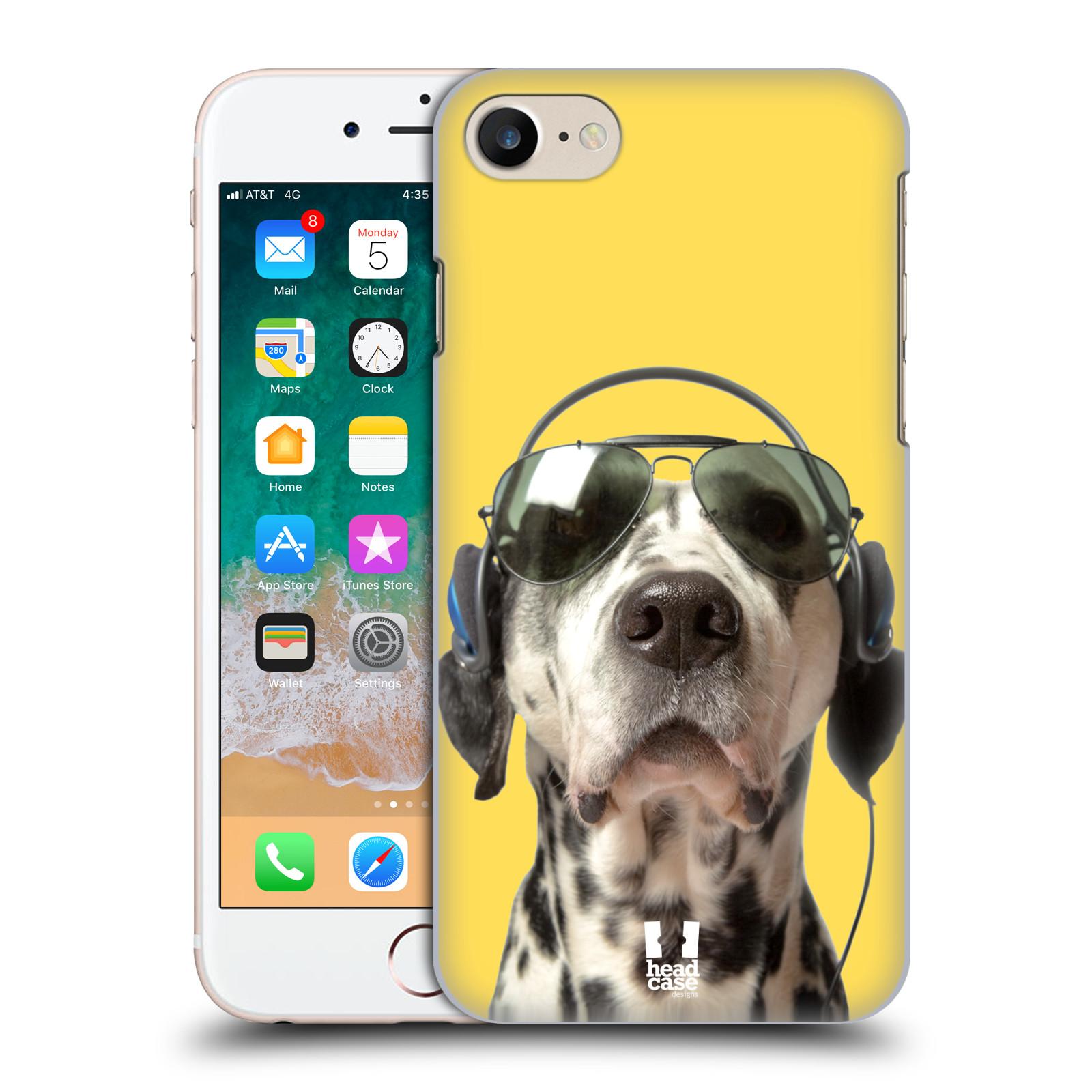 HEAD CASE plastový obal na mobil Apple Iphone 7 vzor Legrační zvířátka dalmatin se sluchátky žlutá