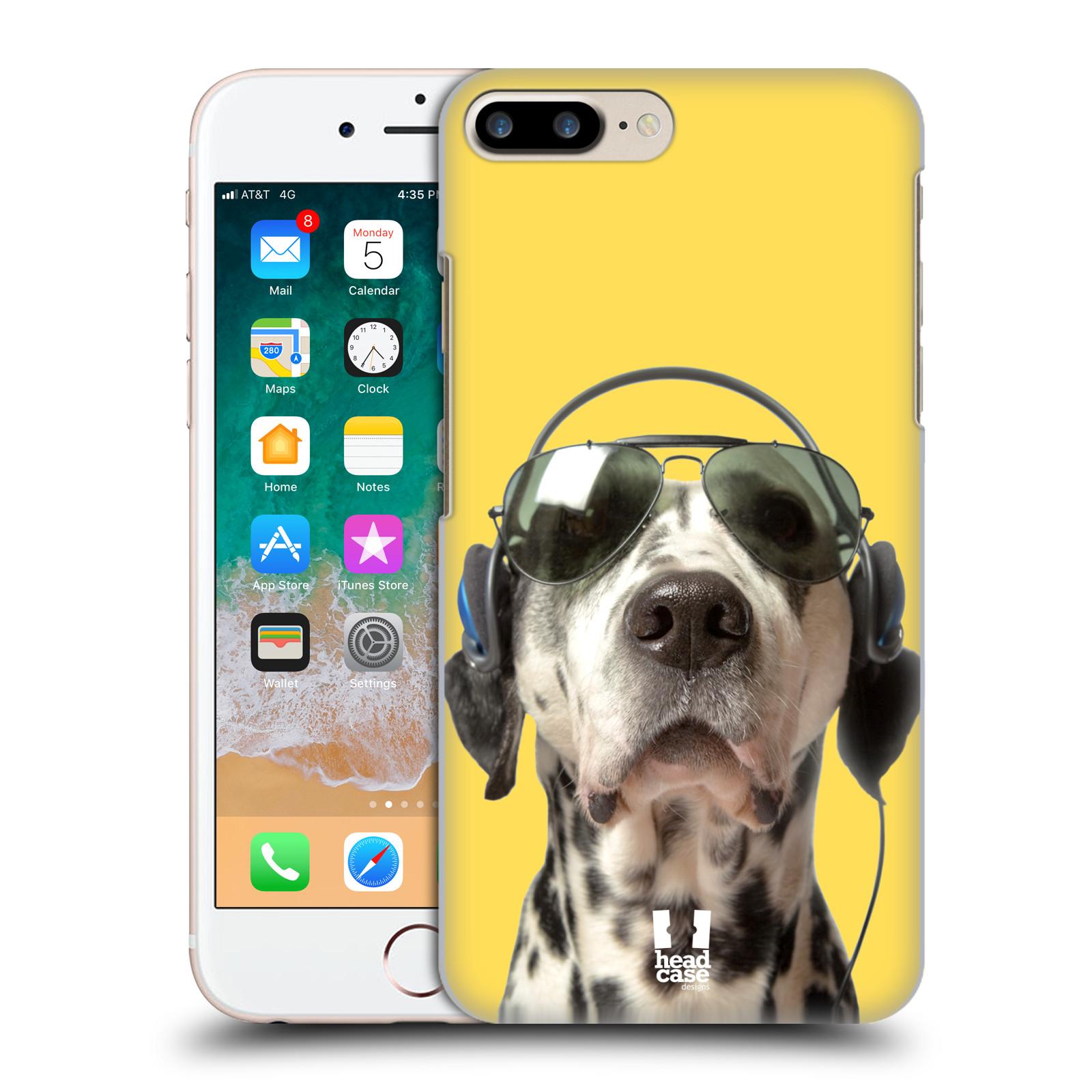 HEAD CASE plastový obal na mobil Apple Iphone 7 PLUS vzor Legrační zvířátka dalmatin se sluchátky žlutá