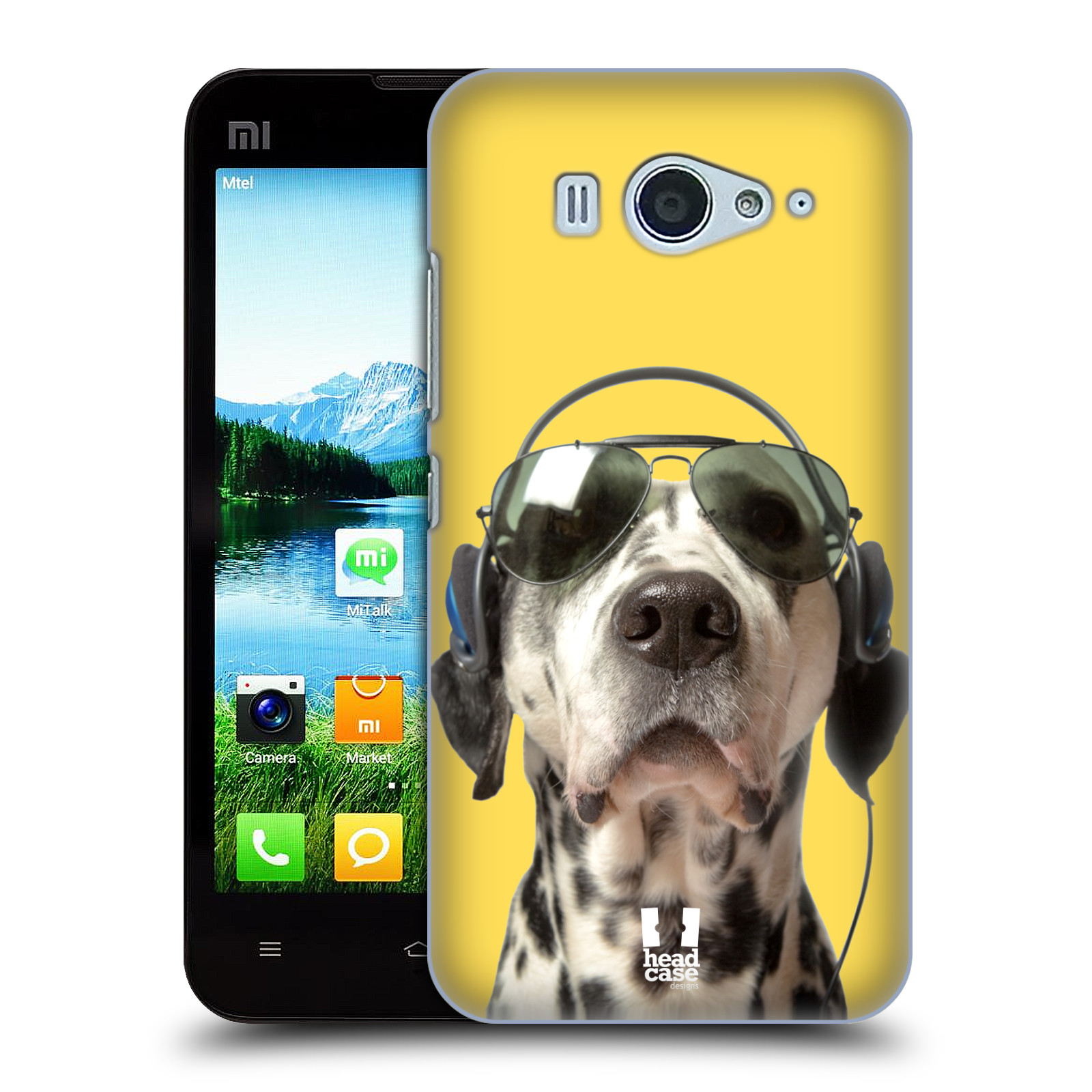 HEAD CASE pevný plastový obal na mobil XIAOMI MI2s vzor Legrační zvířátka dalmatin se sluchátky žlutá