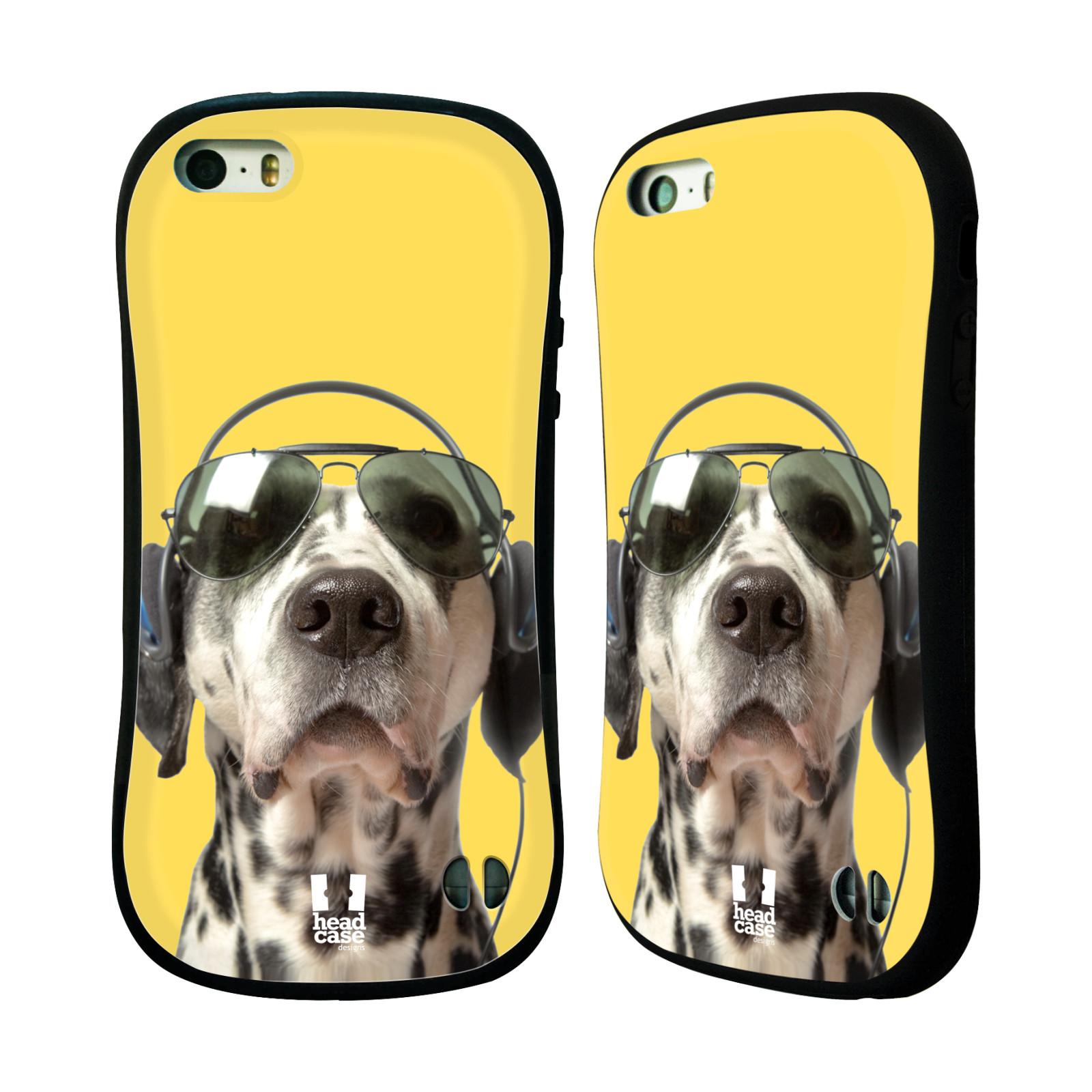 HEAD CASE silikon/plast odolný obal na mobil Apple Iphone 5/5S vzor Legrační zvířátka dalmatin se sluchátky žlutá