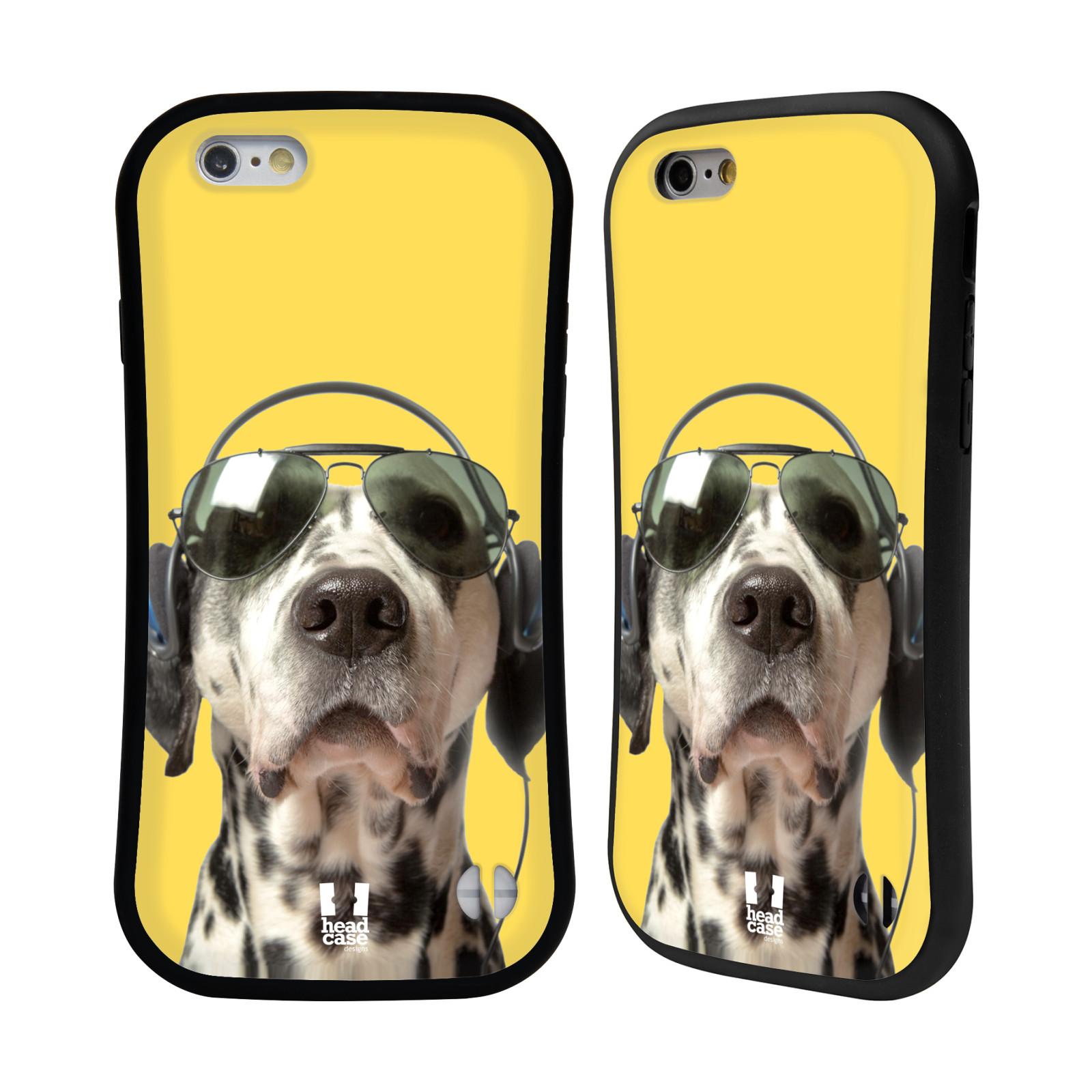HEAD CASE silikon/plast odolný obal na mobil Apple Iphone 6/6S vzor Legrační zvířátka dalmatin se sluchátky žlutá